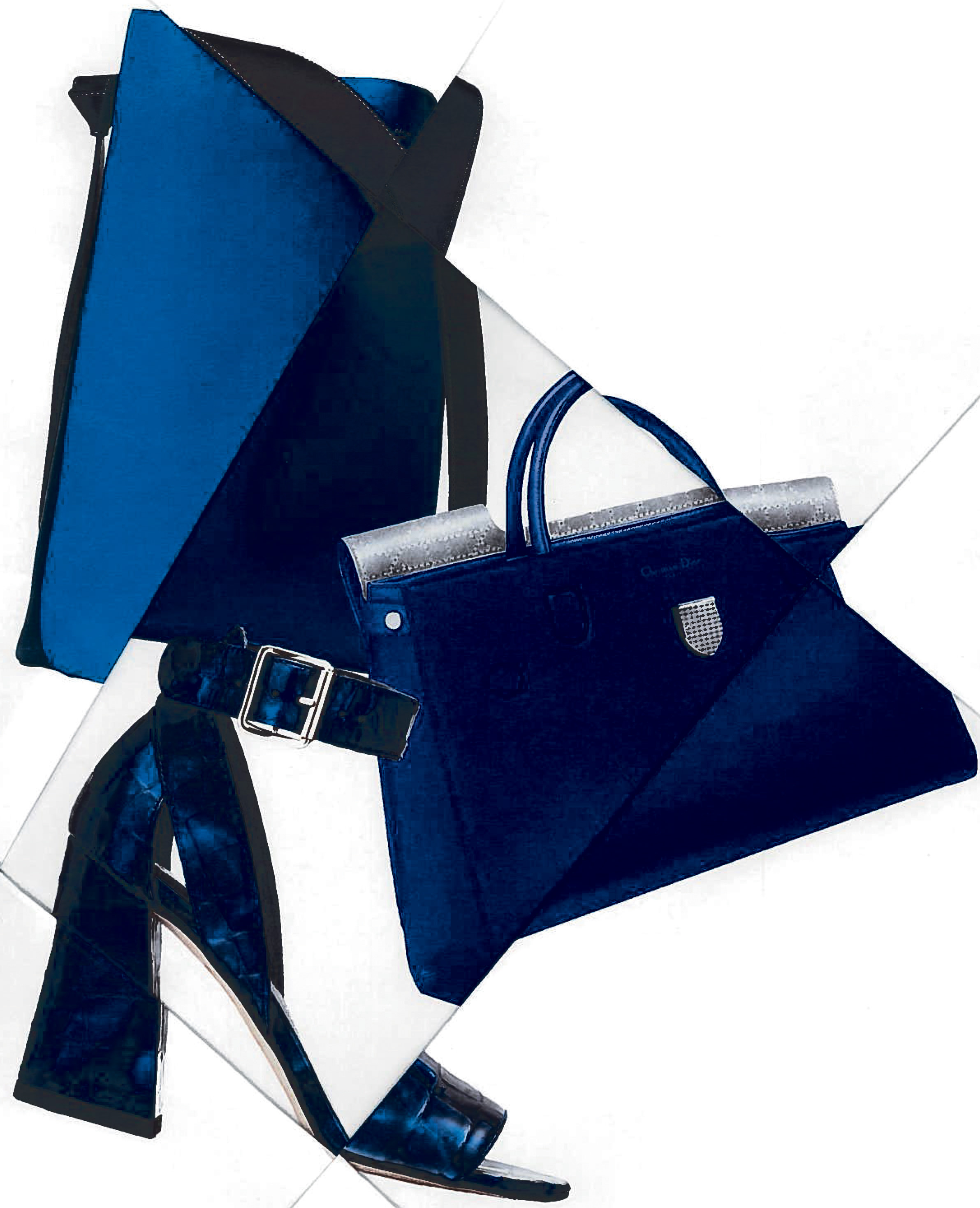 Céline, Christian Dior and Stuart Weitzman's blue accessories