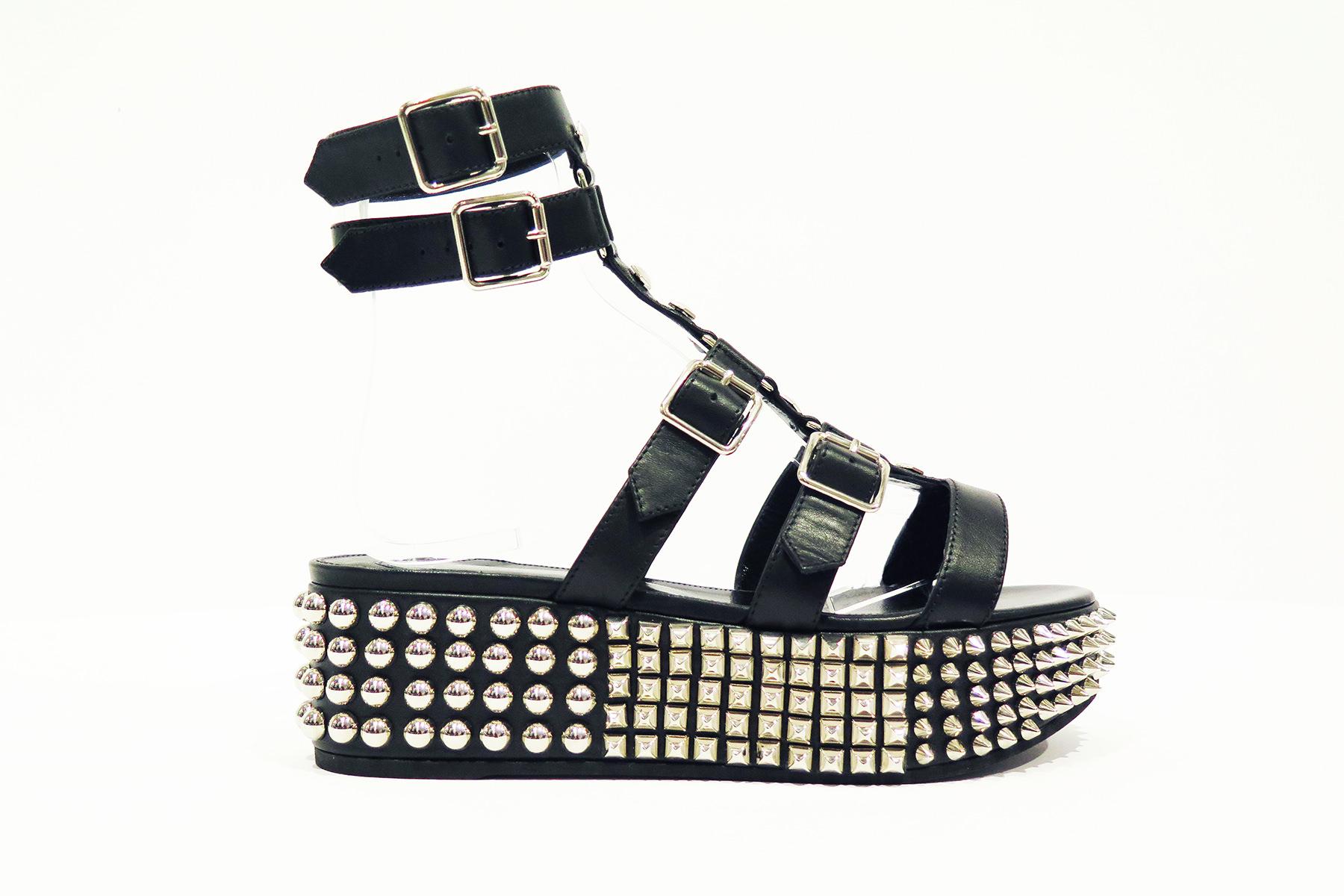 """Sandale à plate-forme """"Eternal"""" en cuir et métal, PHILIPP PLEIN."""