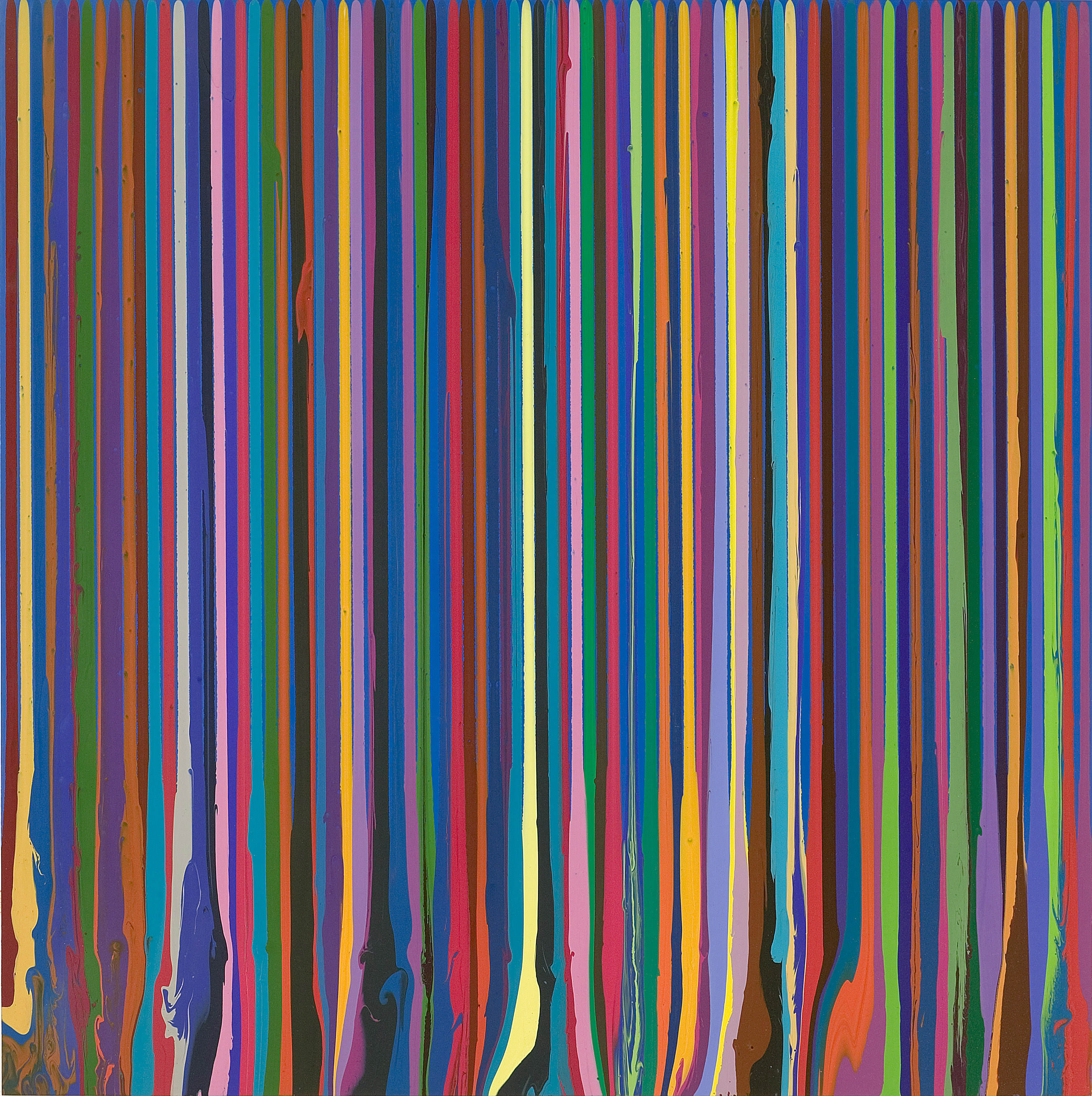 Puddle Painting: Swedish Blue (2009) d'IAN DAVENPORT. Peinture acrylique sur aluminium. Courtesy Waddington Custot Galleries et galerie Xippas.