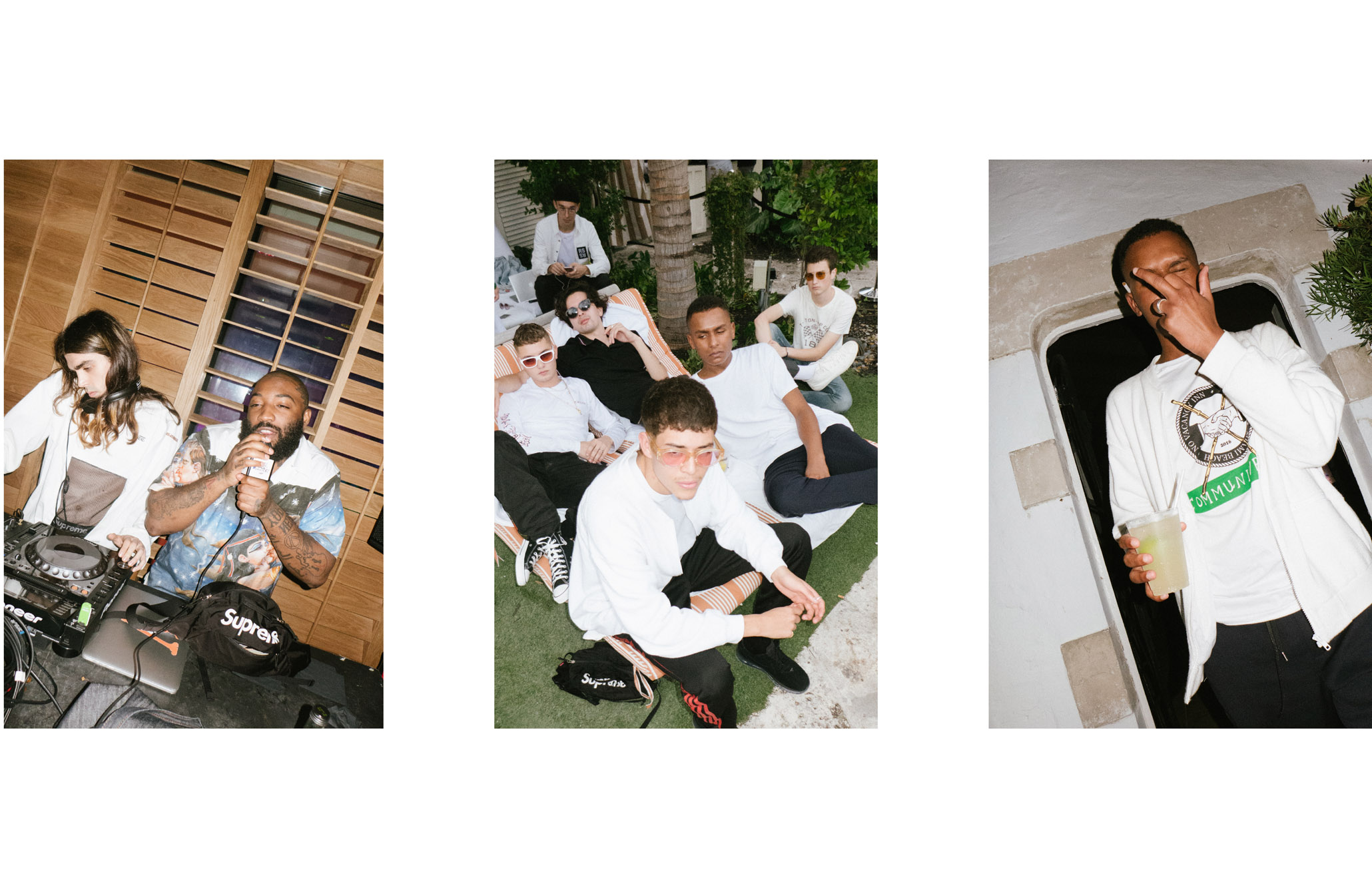 De gauche à droite : Cyber69 avec A$APBari,Raff Law, Gianni Mora, Gleb Kostin, Jonah Levine, Joshua Hercules, Jordan Vickors etJoshua Hercules.