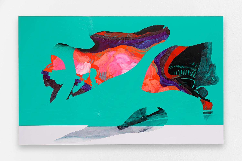 L3B023(2016) de Fabrice Yencko, peinture et encre sur vinyle adhésif et plaque aluminium,160 x 100 cm.All images courtesy of galerie Rabouan Moussion/DR.   L'exposition Retiens la nuit– dont le titre est volontairement emprunté au morceaude Johnny Hallyday –réunit à la galerie Rabouan Moussionune douzaine d'artistes internationaux –parmi lesquels les fameux Ryan McGinley, Fabrice Yencko ou encore SKKI © –pour une virée nocturne ambiance fin de soirée.  Au cœur de cette monstration collective, le désir de révéler les cauchemars et les fantasmes nocturnes qui caractérisent notre époque. On déambule dans l'exposition comme dans un underground peuplé de mégots de cigarette, de bouteilles de bièreet de graffitis ; le lien avec l'art urbain est d'ailleurs évident lorsqu'on s'arrête sur l'œuvre au plafond, réalisée à la flamme de briquet par Olivier Kosta-Théfaine. Dès l'entrée, on se laissait déjà accueillir par le pare-brise du street artist SKKI ©, sculpture débris magnifiée comme reliquat d'une manifayant mal tourné.