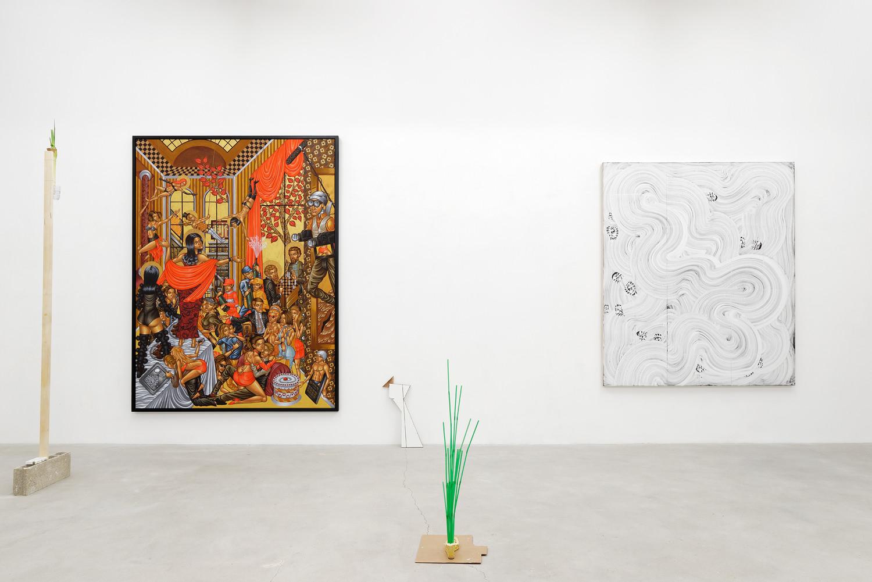 Vue d'exposition : SKKI - Stelios Faitakis - Evan Robarts. Photographie : Aurélien Mole.
