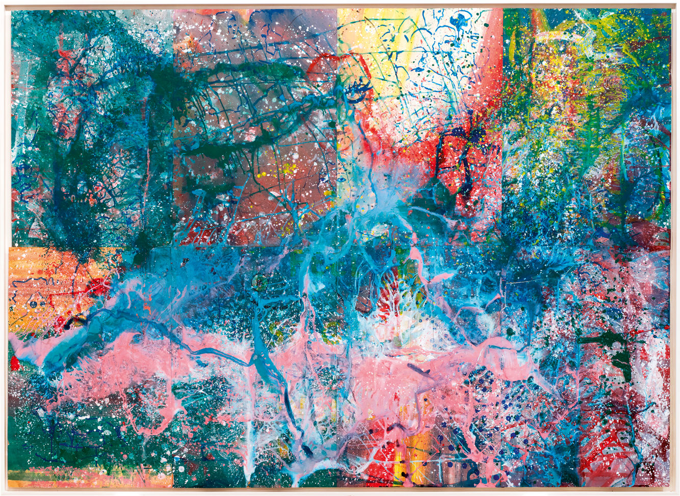 Ohne Titel (around 1972) by Sigmar Polke, Pinault collection. Courtesy Michael Werner Gallery, New York - The Estate of Sigmar Polke/SIAE, Roma 2016.   What's so marvellous about successful retrospectives of great masters is that they teach us as much about their work as what it takes to become a great master. The current show at the Palazzo Grassi in Venice dedicated to German artist Sigmar Polke (1941-2010) focuses on this major painter as an alchemist of colour, shape and material… revealing Polke's genius in this regard. Experimentation runs through his work from the 1960s, becoming even more evident in the 80s. The show looks at his establishment as a pop artist: the diversion of the photograph used as a source for his tableaux. It also considers his use of unusual tools - the photocopier and sanding machine - in the creation of his paintings. And not forgetting of course the inspiration derived from his use of mind-altering drugs in the 1970s. But it's his original materials that's perhaps the most fascinating. You could spend your entire time at the exhibition just perusing the extraordinary plates within the frames that read like a strange and cryptic poem: casein, enamel, spray, malachite, resin, lacquer and various pigments, silver oxide, ink, mica ferrous… It's a true laboratory. With Polke the incessant quest for new colours and new effects is not only a way of reinventing painting, but also a means of bringing his art alive. The videos shown in Venice are truly enlightening. We witness the painter in action facing his canvas, blowtorch in hand, like the true artisan that he was. We see colours filmed in close ups running like rivulets of magma over his monumental tableaux. The result, whether it's a figurative or abstract painting (with Polke the two often blend) is always as mysterious as it is wild.