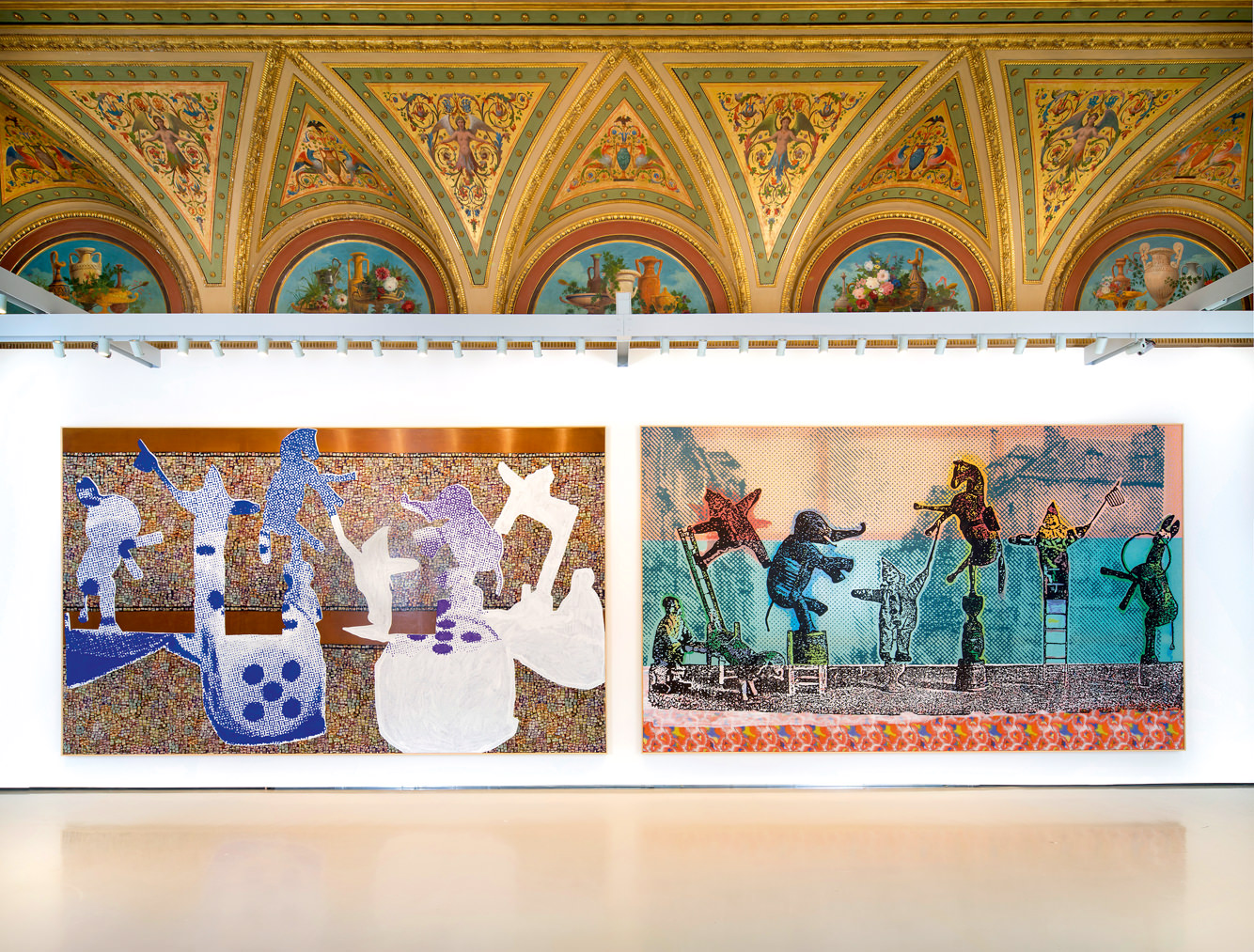 Die Trennung des Mondes von den einzelnen Planeten (2015) andZirkusfiguren (2005) by Sigmar Polke,Pinaultcollection, view of thePalazzo Grassi's installation. Photo: Matteo De Fina. The Estate of Sigmar Polke/SIAE 2016.   While we can recognise a great artist by their audacity and irreverence (towards their art, through their ability to test limits, towards themselves and their dexterity at never repeating themselves), their ability to speak about our era is just as important. And at this Polke excelled. Very early on he became interested in comics and Hollywood magazines. But his sources were numerous and his culture nothing short of encyclopaedic. With every possible irony he attacked these images that invaded the mass media. He questioned their value and meaning. He embraced current affairs, often hijacking them. His Without Title (Repose before the Flight into Egypt) uses this biblical theme to broach the delicate question of refugees. Who are the current children of Israel fleeing to Egypt? Are we any more humane with them today? Through this exhibition conceived by Guy Tosatto and Elena Geuna for the Pinault collection, through his spiritual and sacred spheres and mastery as an alchemist, Polke delivers his definition of art. It's an invitation to dream and to reflect on the world. A magical place of permanent metamorphosis.   Sigmar Polke, at thePalazzo Grassi,Venise, until November 6th2016.   By Thibaut Wychowanok