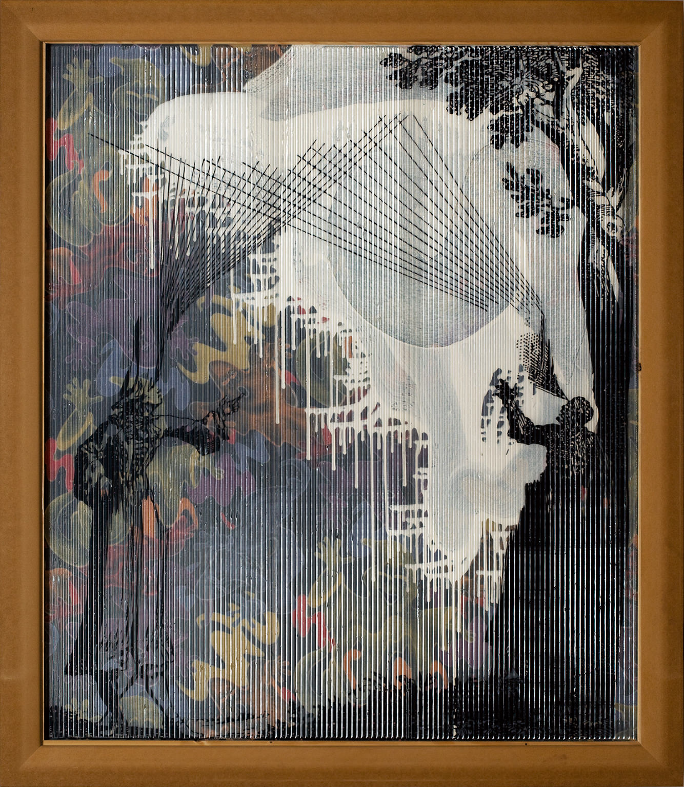 Strahlen Sehen(2006-2007) by Sigmar Polke, Lambrecht-Schadebergcollection, ContemporaryArt museum, Siegen. The Estate of Sigmar Polke, Cologne/VG Bild-Kunst, Bonn,2016.  Another characteristic of major artists is to keep something back. The canvas reveals as much as it hides. His Message de Marie-Antoinette à la Conciergerie (1989), from a series devoted to the French Revolution, appears initially as a majestic work of abstraction. But the closer you get the more you notice these granular effects. In fact the tableau was pierced using a needle to reproduce a code sent by Marie-Antoinette to the Count Fersen. For Polke painting is a theatre of mysterious shadows, a grand décor that sometimes requires us to peep behind the scenes. In fact showing the other side of the work is exactly what the Palazzo Grassi proposes in its atrium, where the Axial Age (2005) are installed, these gigantic translucent canvases where a yellowish liquid becomes purple through exposure to the sun. Perfect examples of alchemy in action. Here in the atrium, for once, you can actually walk around the paintings and observe the backs…which are as interesting as the fronts. The painter often painted both sides of his canvas to achieve effects of transparency. Occasionally you can even perceive the stretching frame. It's almost like Polke was constantly reminding us that while painting can be transcendent it still remains nothing more than canvas and wood. While magic is at work, never be fooled. The theme of theatre often takes centre stage in his paintings. In 2005 Polke did two works that complete each other, one being the negative of the other. There are tiny painted figures representing the characters and animals of a circus. As was his way, he projected recuperated images onto enormous canvases in order to reproduce them with his own hands, often at night. An image he would select according to colour and motif that he would then integrate fully into his own composition.