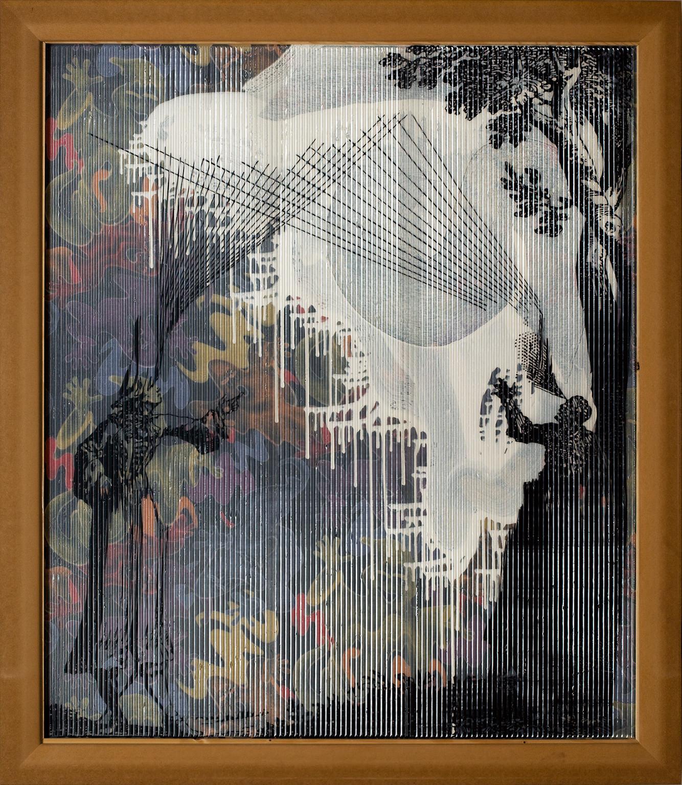 Strahlen Sehen(2006-2007) de Sigmar Polke, collection Lambrecht-Schadeberg, lauréat du prix Rubens de la Ville de Siegen, musée d'Art contemporain, Siegen. The Estate of Sigmar Polke, Cologne/VG Bild-Kunst, Bonn,2016.  C'est l'une des autres caractéristiques des grands artistesque de ne pas se laisser approcher si facilement. La toile dévoile autant qu'elle cache. SonMessage de Marie-Antoinette à la Conciergerie(1989), issu d'une série dédiée à la Révolution française, s'offre tout d'abord comme une composition abstraite magistrale. Mais, alors qu'on s'en approche, apparaissent des éléments granuleux. En réalité, le tableau a été percé à l'aide d'une aiguille afin de reproduirele message codé envoyé par Marie-Antoinette au comte Fersen. La peinture chez Polke est un théâtre d'ombres mystérieuses, un grand décor qui demande parfois à ce que l'on accepte de regarder derrière. Montrer l'arrière du décor est, justement, ce que propose –au sens littéral– l'atrium du Palazzo Grassi, où sont installés lesAxial Age(2005), gigantesques toiles translucides où un liquide jaunâtre devient pourpre sous l'effet de l'exposition au soleil. Exemples parfaitsde l'alchimie en action. Dans l'atrium, une fois n'est pas coutume, on peut se balader autour des peintures et observer l'envers du tableau… aussi intéressant quel'endroit. Car le peintre peignait souvent les deux faces de la toile, afin d'obtenir des effets par transparence. On perçoit même jusqu'au châssis. Polke semble à tout moment nous dire que si la peinture peut être transcendante, elle n'est en même temps que cela: du bois et une toile. Si la magie opère, il ne faut jamais être dupe. Le motif du théâtre est parfois le sujet central de la peinture. En 2005, Polke réalise deux toiles qui se complètent, l'une étant comme le négatif de l'autre. Il y peint de petites figures représentant des personnages ou des animaux de cirque. Comme àson habitude, il projetait sur la gigantesque toile des images récupérées afin de les reprod