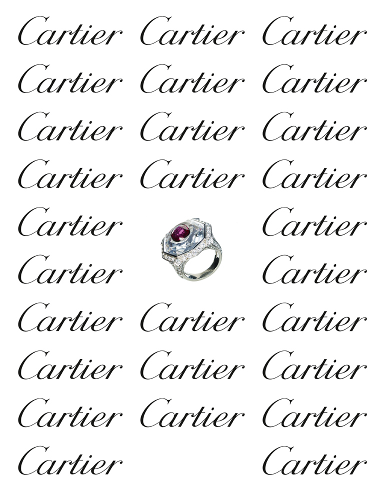 Platinum, brilliant-cut diamonds, octogonal rock crystal and cushion-shape ruby ring, CARTIER.