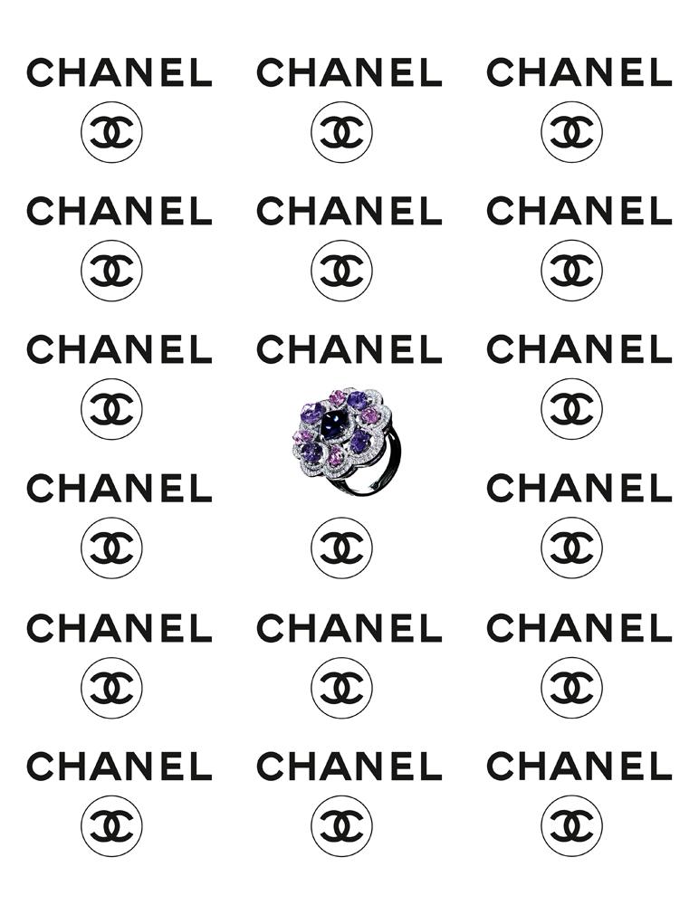 """Bague """"Charismatique"""" en or blanc, diamants taille brillant, tanzanite bleue taille pain de sucre, saphirs violets taille baroque et saphirs roses taille baroque, CHANEL JOAILLERIE."""