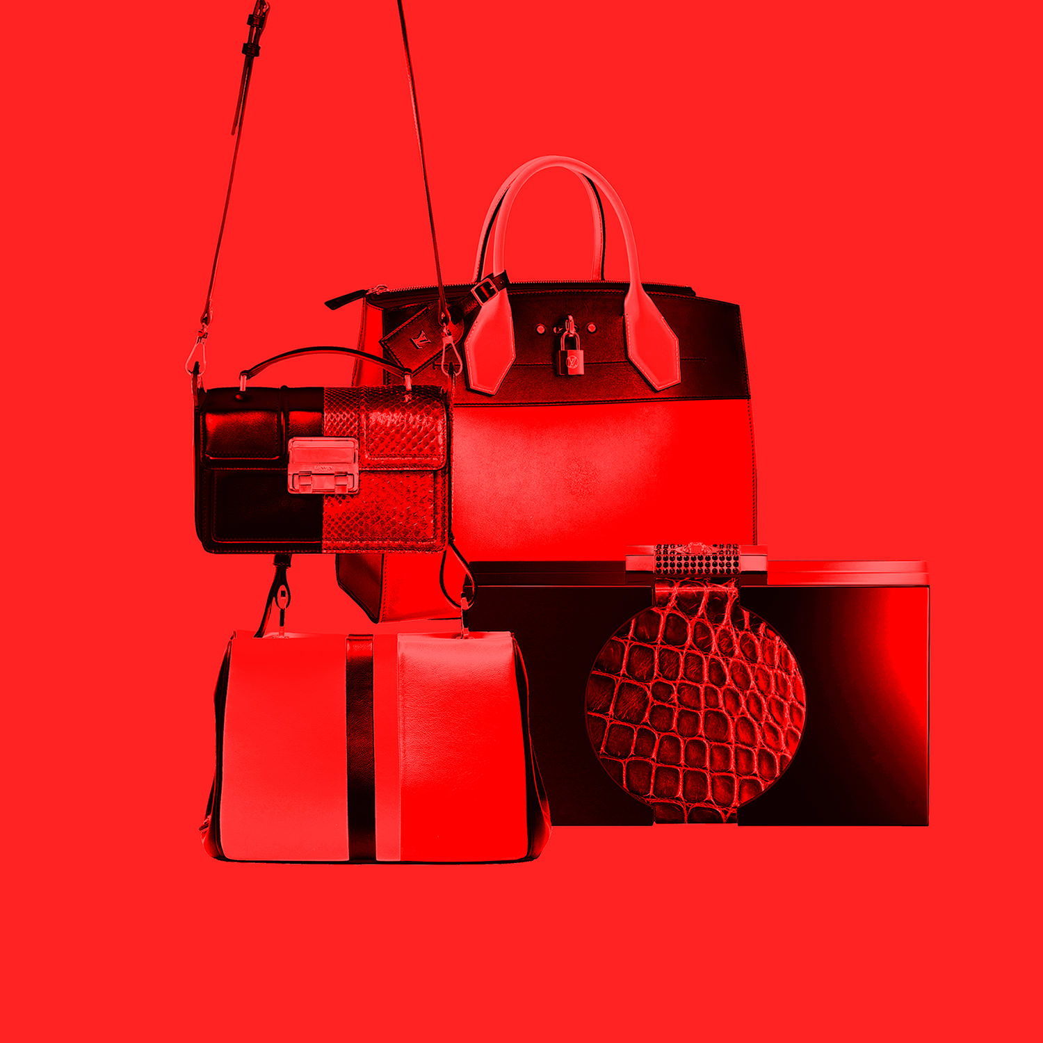 """Leather and python bag, LANVIN. """"City Steamer"""" leather bag, LOUIS VUITTON. """"Frame"""" leather bag, PRADA. Plexiglas, alligator and Swarovski cristals pouch, BY KILIAN.  Selection by Rebecca Bleynie"""