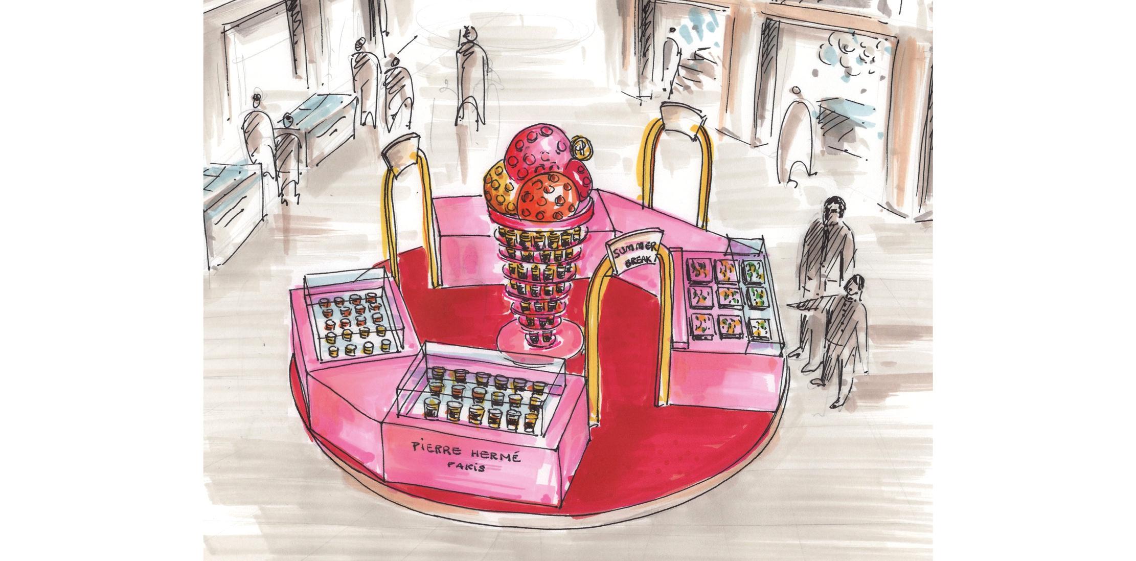 Pierre Hermé auxGaleries Lafayette  Au cœur des Galeries Lafayette Haussmann, retrouvez les macarons et les chocolats, mais surtout les glaces signés Pierre Hermé Paris sous la coupole des Galeries Lafayette Haussmann.Du 4 avril au 14 mai, dans le cadre de l'opération Summer Break,cette collaboration propose une expérience inédite autourde goûts, de sensations et de plaisirs originaux, et une occasion unique de découvrir –pour ceux qui ne la connaîtraient pas encore –la Glace par Pierre Hermé.  Le Bar à Glaces Pierre Hermé aux Galeries Lafayette, 40, boulevard Haussmann, Paris IXe, du 4 avril au 14 mai.