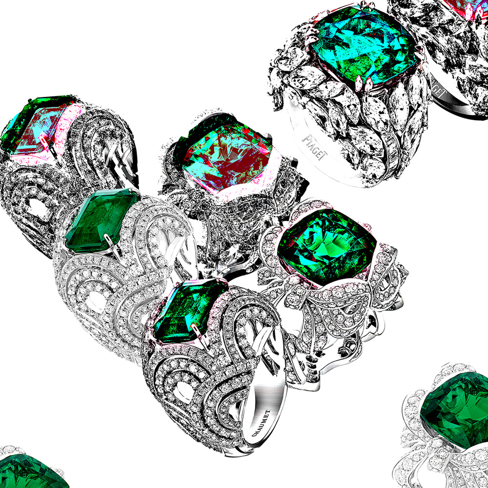 Chaumet, Dior Jewerly and Piaget's green rings