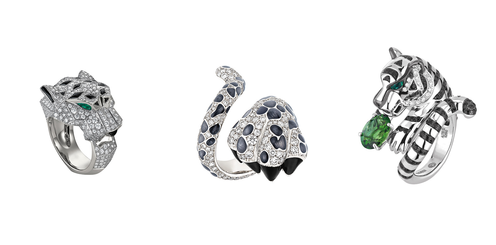 """Panther"", grey gold, diamonds, emeralds and onyx, CARTIER. ""Mitza"", white gold, diamonds and laquered grey and blue, DIOR JEWELRY. ""Bagha, the tiger"", green tourmaline, diamonds, black saphires, emeralds, white gold, BOUCHERON.     Selection by Rebecca Bleynie."