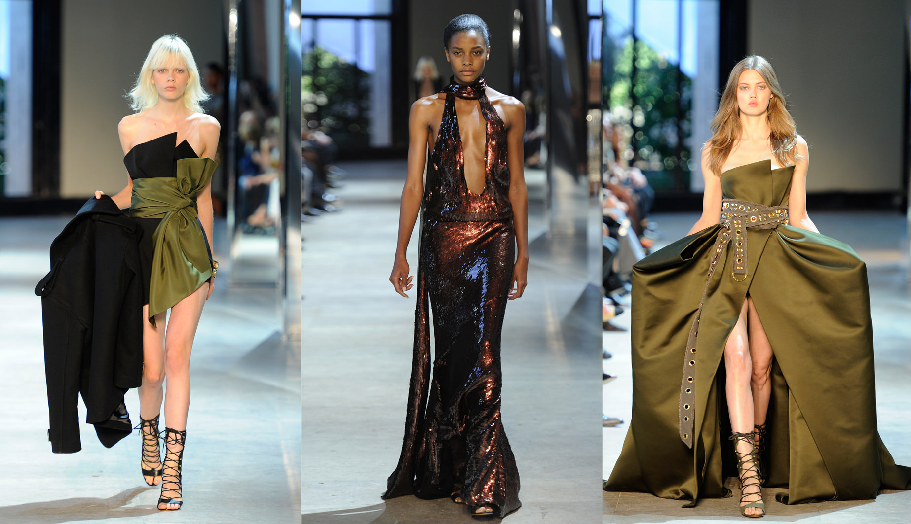 The Alexandre Vauthier fall-winter 2016-2017 haute couture show.  You presented very voluminous floor-skimming dresses in taffeta for the first time...  It's true that's a new thing. I'd never done that kind of dress before. I've always been fascinated by 1950s haute couture, but never wanted to include it in my collections because I didn't think it was of the moment. But this time mixed with the rest of the collection, it was the right thing to do. We started from volumes based on the work of Charles James [an Anglo-American couturier from the 30s to 50s renowned for his sculptural volumes] that we re-appropriated, adding safari jackets and creating hybrids with fishnet to modernise them.