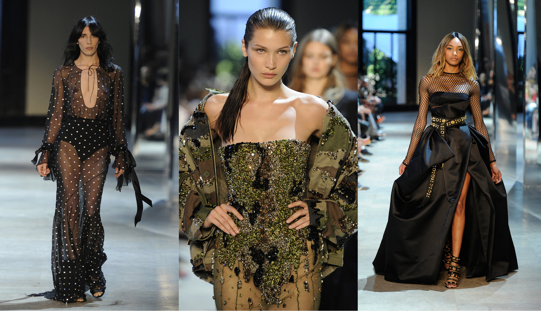 The Alexandre Vauthier fall-winter 2016-2017 haute couture show  Numéro: Bella Hadid,Jourdan Dunnand Cindy Bruna all walked for you this season…  Alexandre Vauthier:I'm so thrilled these girls, who are dreams come true, were happy to be there. They want to take part in the show and to wear my clothes. I think they're very excited by the energy of the show, but also by what they can express here through the clothes. I really try to balance my line up of girls because it's very important to me to represent a varied slice of femininity. I want to mix up different physical genres, the sensuality of Bella Hadid and the elegance of Guinevere.