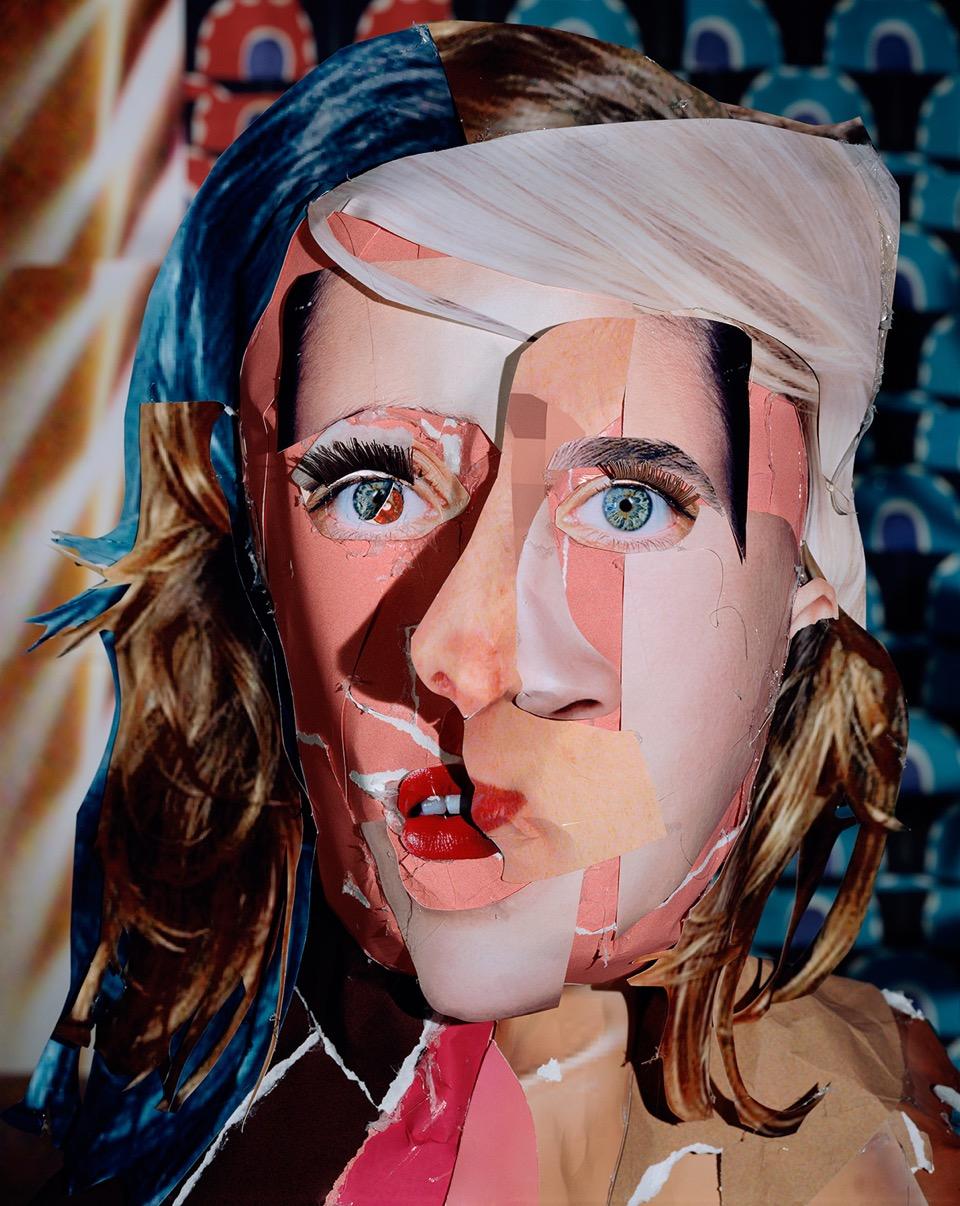"""Daniel Gordon Red Eyed Woman, 2011 signed and numbered verso chromogenic print 37-1/2 x 29-3/4 inches (95 x 76 cm) edition of 3 plus 1 artist's proof $10,000.00   3. Les visages recomposés de Daniel Gordon (M+B Gallery)  Le photographe new-yorkais de 36 ans dont le travail a déjà intégré les collections du MoMA présente de fascinants portraits et natures mortes. """"Daniel Gordon réalise un long travail de recherche d'images sur Internet, explique la galerie, avant de les imprimer et de réaliser à partir d'elles des collages en 3 dimensions représentant des figures humaines ou des objets. Il photographie par la suite ces mises en scène dans son studio de Brooklyn.""""Un art de la composition post-digital qui assume aussi ses influences historiques, de Cézanne aux grands maîtres du XXème siècle.  Retrouvez une visite en vidéo de l'atelier de l'artiste ici.  Prix : entre 10 000 et11 000 dollars"""