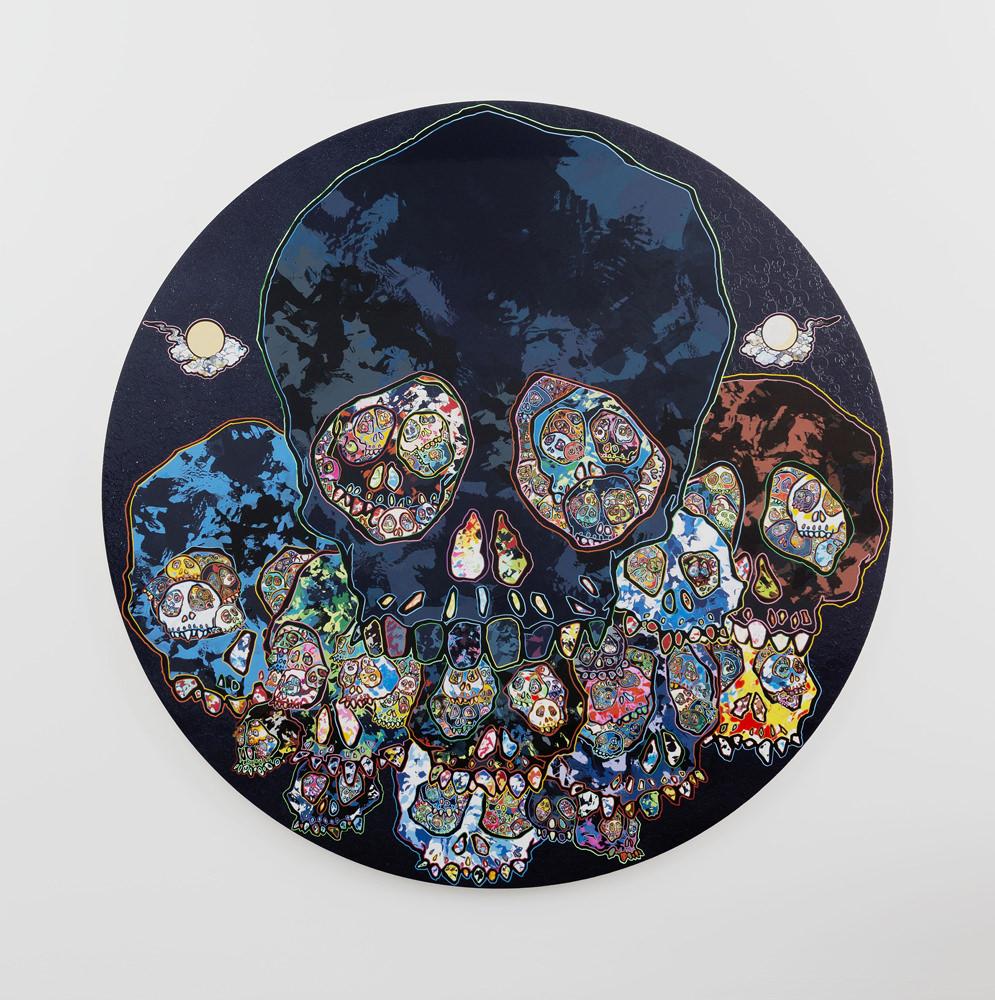 Takashi MurakamiGuardians of the Sunken Caribbean Treasure(2015). Acrylique, feuille de platine etd'or sur toile montéesur châssis en bois. © 2015 Takashi Murakami/Kaikai Kiki Co., Ltd. Tous droits réservés. Photo : Claire Dorn. Courtesy ofGalerie Perrotin