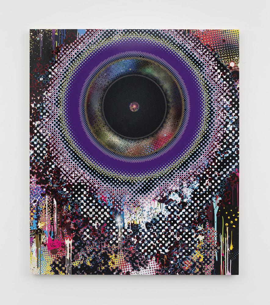 Takashi MurakamiEnsō: Black Hole(2015). Acrylique, feuille de platine et d'or sur toile montéesur châssis en aluminium. © 2015 Takashi Murakami/Kaikai Kiki Co., Ltd. Tous droits réservés. Photo : Claire Dorn. Courtesy ofGalerie Perrotin