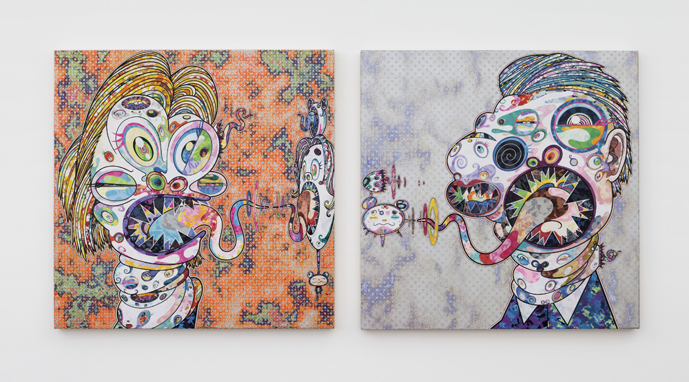 Takashi Murakami Homage to Francis Bacon (Three Studies for Portrait of George Dyer (on light ground) [2016]. Acrylique, feuille de platine et d'or sur toile montée sur châssis en aluminium. © 2016 Takashi Murakami/Kaikai Kiki Co., Ltd. Tous droits réservés. Photo : Claire Dorn. Courtesy of Galerie Perrotin