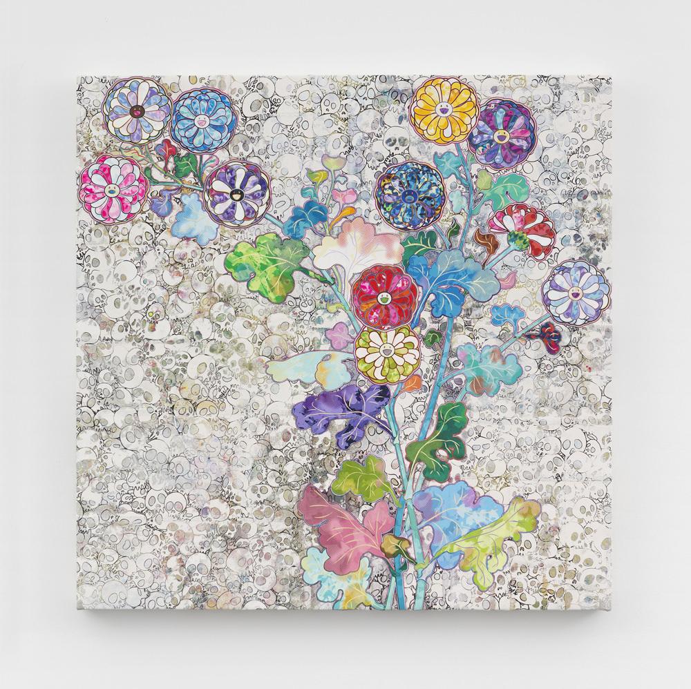 "Takashi MURAKAMI""Kō rin: Unknown, Even in Death"" (2016) Acrylic, platinum leaf and goldleaf on canvas mounted on aluminium frame. © 2016 Takashi Murakami/Kaikai Kiki Co., Ltd. AllRights Reserved. Photo : Claire Dorn CourtesyGalerie Perrotin"