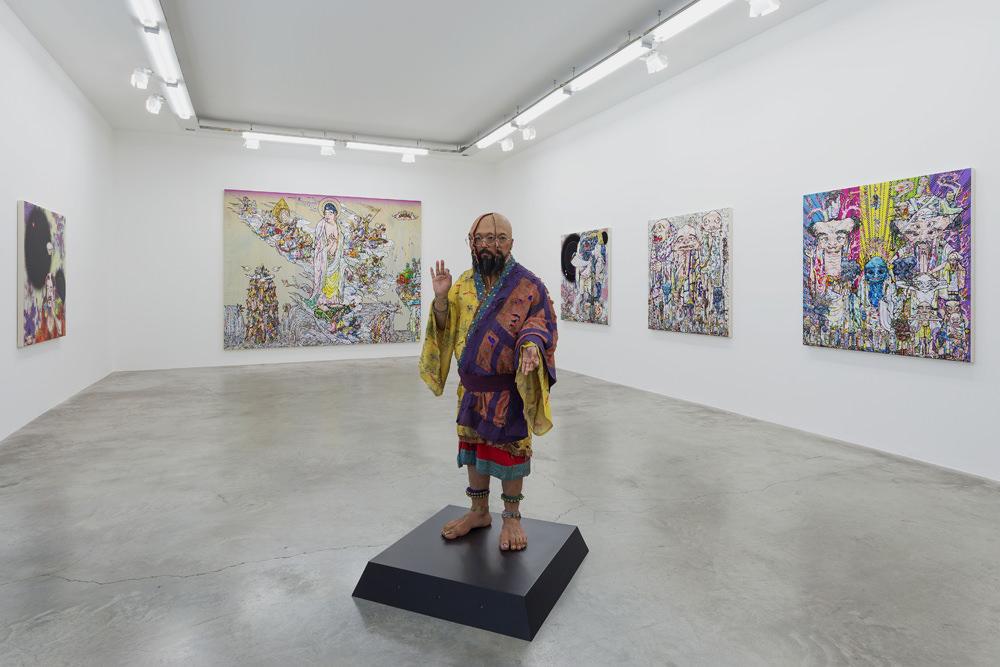 Vue de l'exposition TakashiMurakami Learning the Magic of Paintingà laGaleriePerrotin. Tous droits réservésTakashi Murakami/Kaikai Kiki Co. Photo: Claire Dorn. CourtesyofGalerie Perrotin