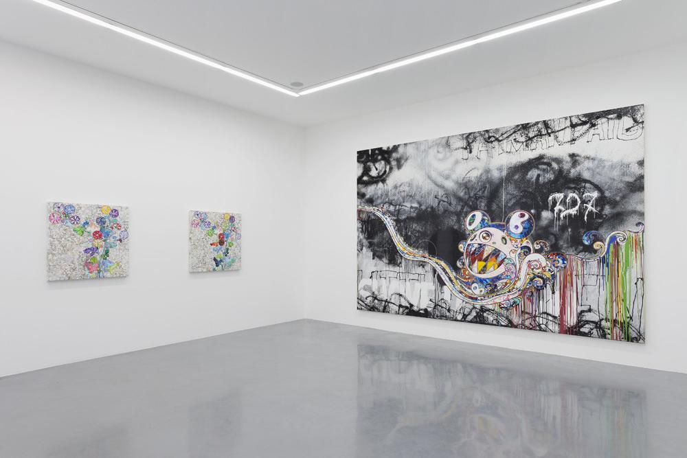 Vue de l'exposition TakashiMurakami Learning the Magic of Paintingà laGaleriePerrotin. © 2015 Takashi Murakami/Kaikai Kiki Co., Ltd. Tous droits réservés. Photo: Claire Dorn. Courtesy ofGalerie Perrotin