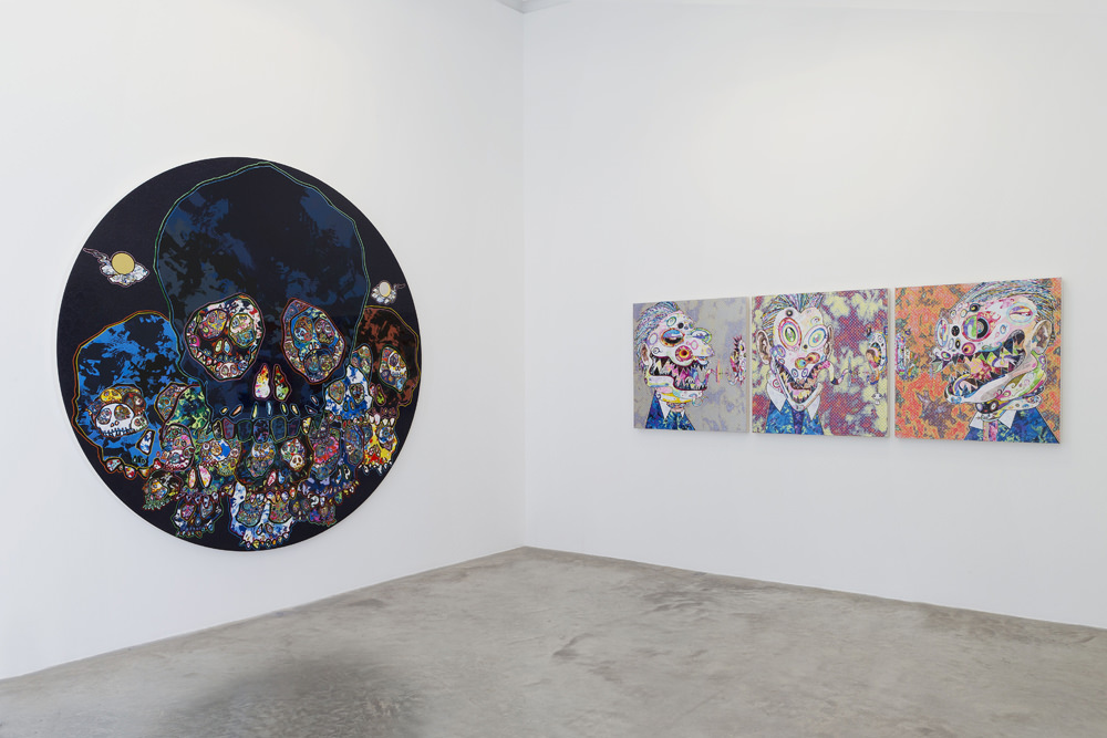 """View from Takeshi Murakami's exhibition """"Learning the Magic of Painting"""" at the GaleriePerrotin.From left to right: """"Guardians of the Sunken CaribbeanTreasure"""" (2016) and""""Homage to Francis Bacon (ThreeStudies for Portrait of George Dyer (on light ground)"""" (2016). © 2015 Takashi Murakami/Kaikai Kiki Co., Ltd. All rights reserved. Photos: Claire Dorn. Courtesy Galerie Perrotin"""