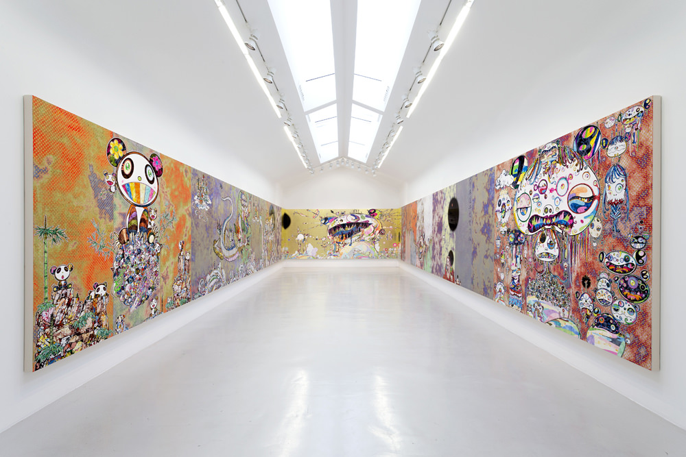 Vue de l'exposition Takashi Murakami Learning the Magic of Painting à la Galerie Perrotin.  © 2015 Takashi Murakami/Kaikai Kiki Co., Ltd. Tous droits réservés.  Photo : Claire Dorn. Courtesy of Galerie Perrotin