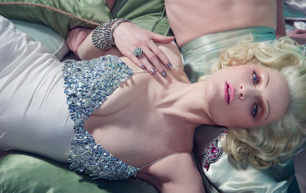 Robe en satin brodé de bijoux, ERMANNO SCERVINO, Bijoux vintage.