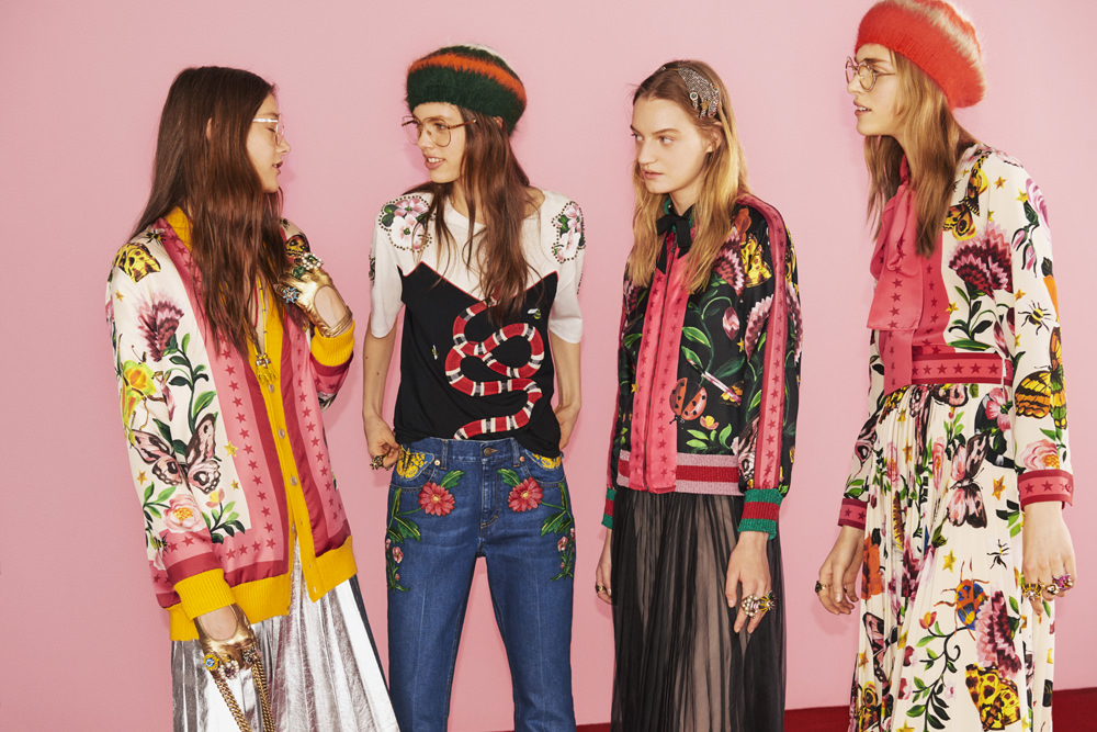 After presenting his 2017 Cruise collection at Westminster Abby, closely followed by the spring-summer 2017 menswear in Milan, Alessandro Michele, artistic director at Gucci, unveils his first capsule collection, Gucci Garden, available today and exclusively on the brand's website.  The new motifs imagined by the artistic director, in vibrant colours against black and white backgrounds, continue to impose a new romantico-hippie aesthetic playing with gender boundaries: flowers, butterflies and ladybirds, birds and snakes all appear as patches or prints on dresses with lavallière bows, pleated skirts, jeans, silk bomber jackets, knitted gilets and even the iconic Dionysus handbag.  www.gucci.com  By Léa Zetlaoui
