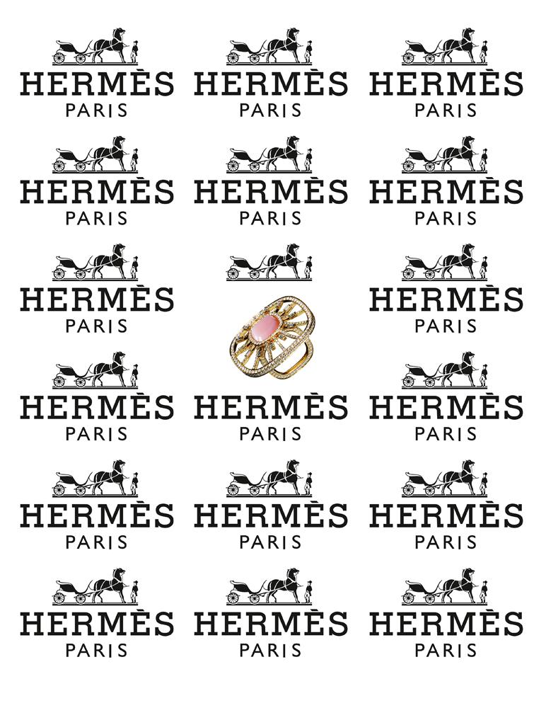 """Bague """"Attelage Céleste"""" en or jaune, opale rose et diamants, HERMÈS."""