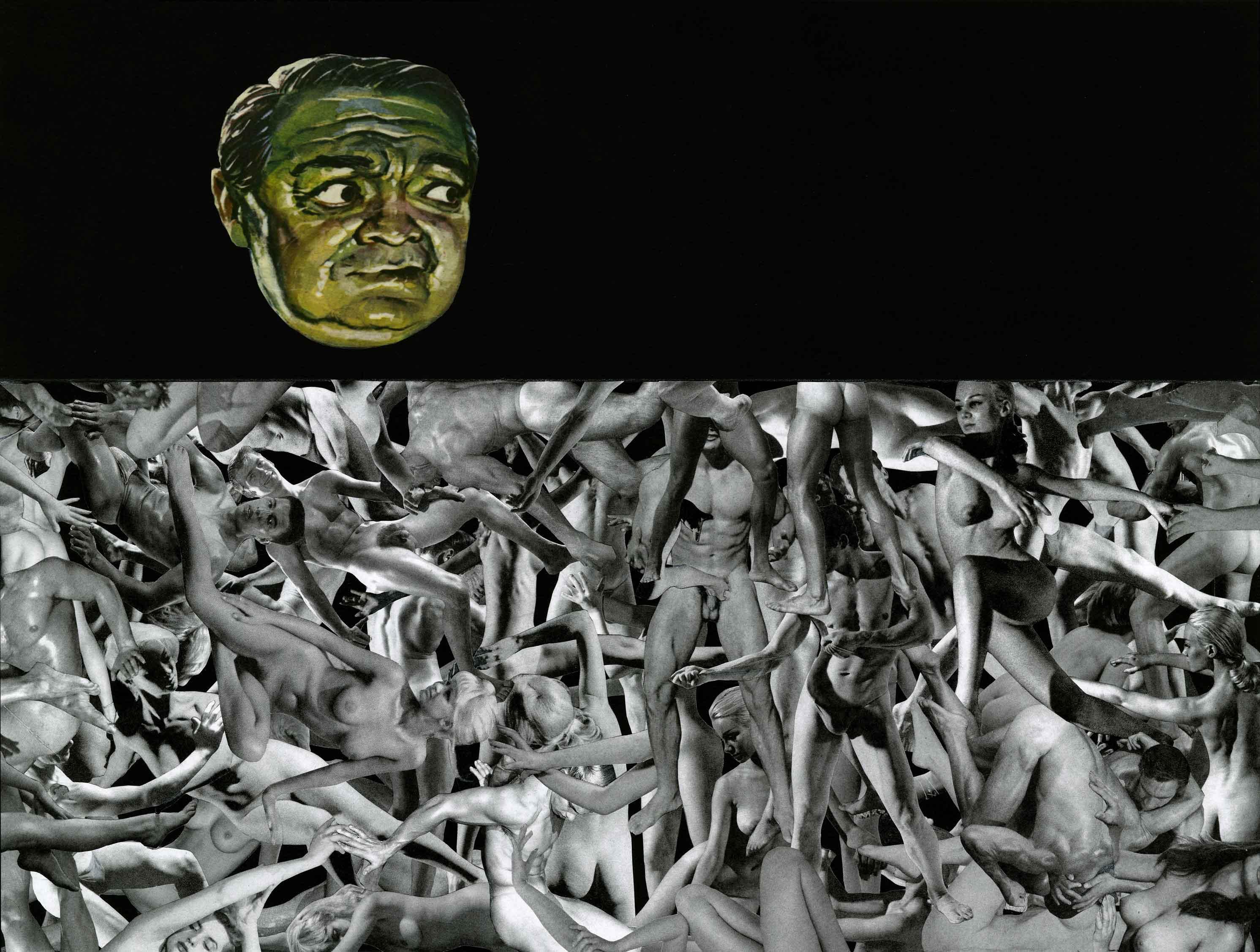 Face à ces images tout droit sorties d'un univers déraisonné, on erre dans l'imaginaire de Jim Shaw comme dans les dédales d'un wonderland. Son langage esthétique saisit autant l'absurde que le burlesque ; il crée des formes dégoulinantes, malléables et abstraites, des personnages hybrides et fantastiques parmi lesquels il représente parfois sa femme, l'artiste Marnie Weber, portraiturée en Monna Lisa. Quant à la nature de certaines scènes, le doute plane. Théâtres orgiaques ou foules en train d'étouffer ? Seul Jim Shaw détient la clé de ses propres rêves.   Exposition Rather Fear God de Jim Shaw à la galerie Praz-Delavallade,  5, rue des Haudriettes, Paris IIIe, jusqu'au 21 mai.