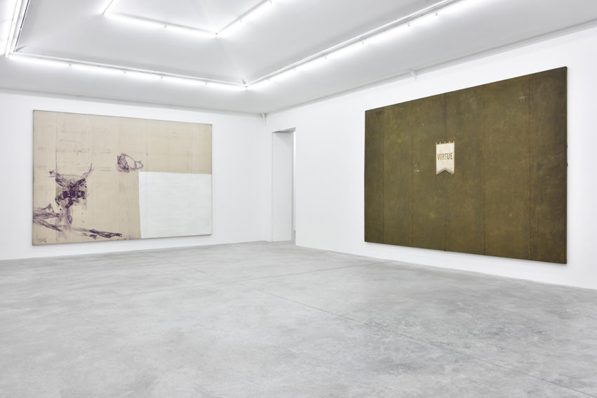 "View of the exhibtiion      ""Jack Climbed Up the Beanstalk to the Sky of Illimitableness Where Everything Went Backwards"" of Julian Schnabel Galerie Almine Rech, 64, rue de Turenne, Paris IIIe Until 14 of November, 2015"