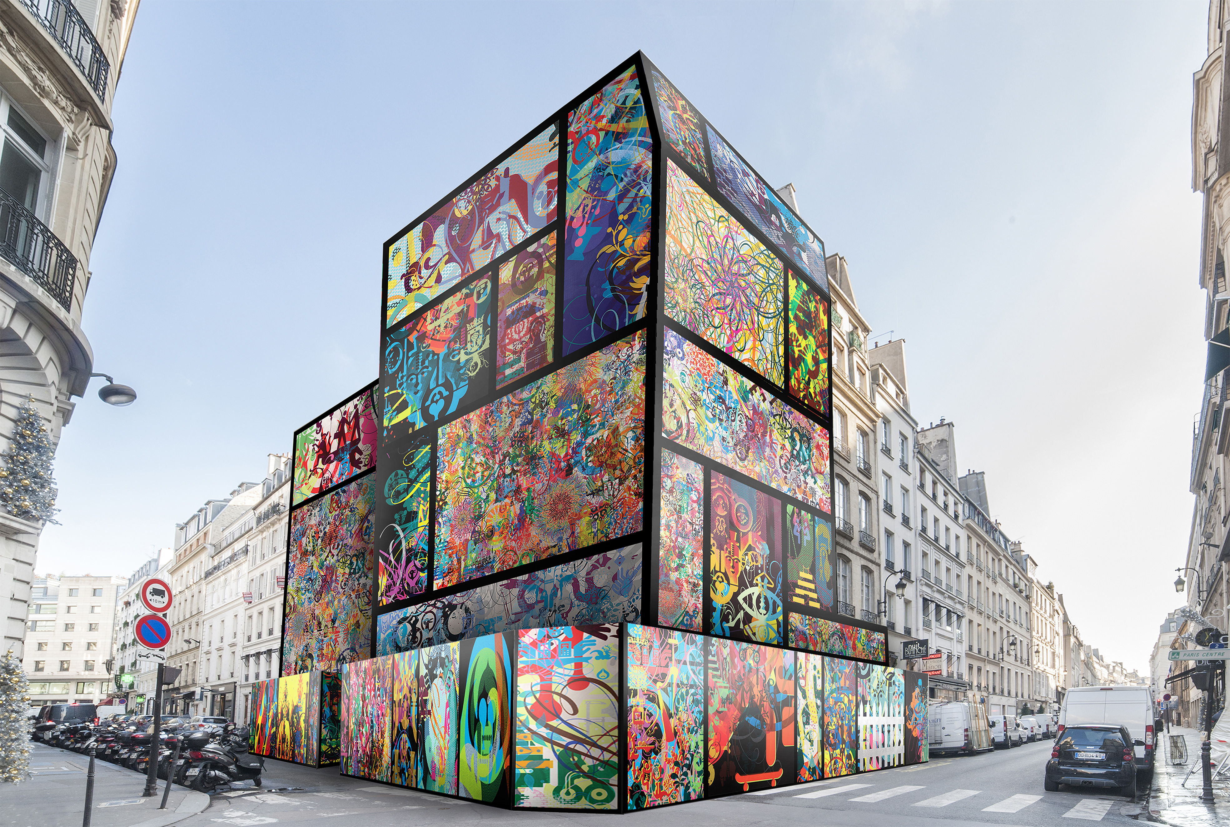 Ryan McGinness habille la boutique Longchamp de la rue Saint-Honoré
