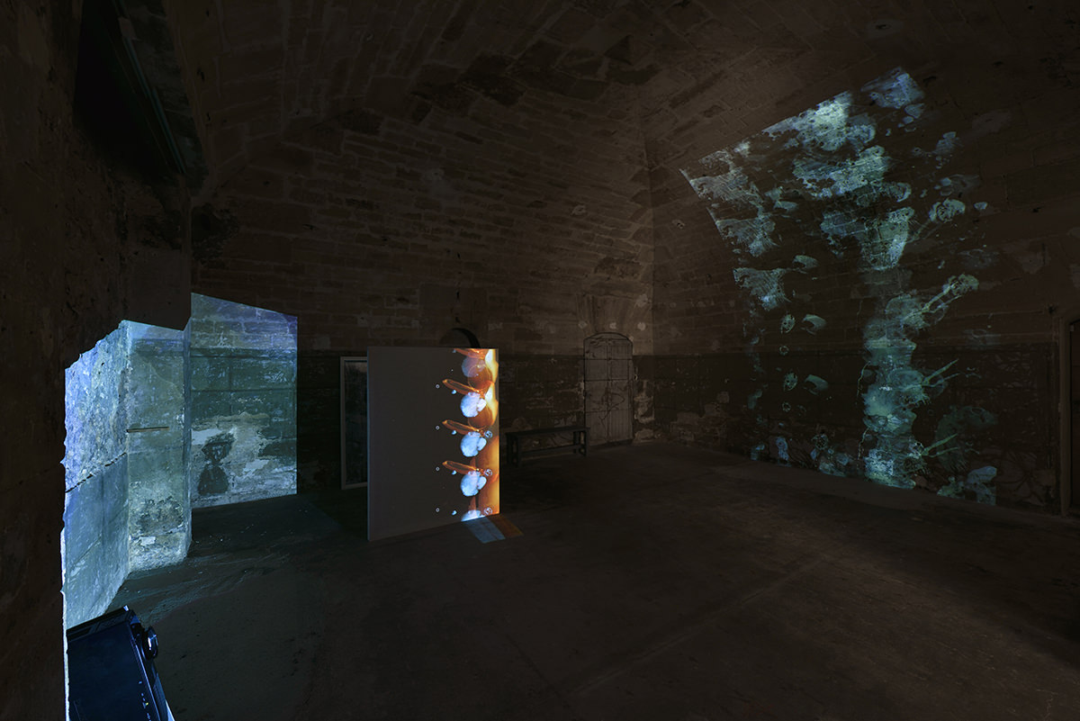 Flooded Vault , 2016. Installation: 3 films HD animated, color, silent, 24 min. 48 sec. silverprinted. Courtesy the artist and Marian Goodman Gallery, Paris   Why did you choose the basement at the Marian Goodman Gallery for this exhibition?  The basement and the ceiling of the gallery, where the video installation is being shown, were an obvious choice. These places echo the postcards featuring the Paris floods but also other images that I've caught. I'm thinking for example of the swimming pool image from David Lynch's Mullholland Drive. The water becomes a source of light in the heart of the painting.   Has water always been important in your work? I was raised by the water's edge. So I would say that I'm the kind of person who falls into depression when I'm not near it (laughs). The ideas that come with water, fluidity, movement, absence of form are all a natural part of my work. In my paintings, just like with my videos, the feeling that things have yet to take shape is very significant. There's always something still moving. An energy at work…    Inondé by Matt Saunders, Marian Goodman Gallery, 79 rue du Temple, Paris 3rd. Until June 4th.   Interview by Thibaut Wychowanok