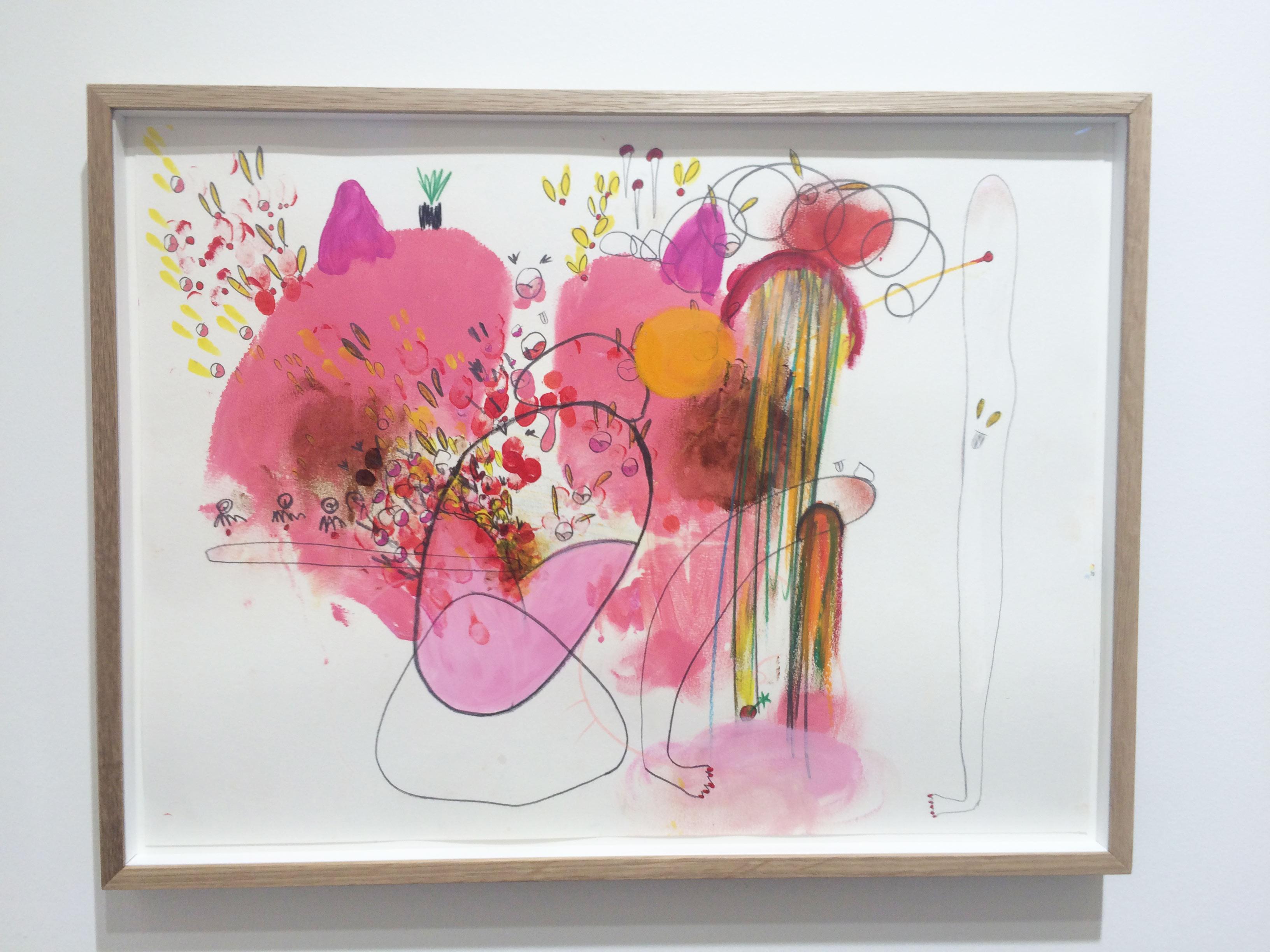 """5. Mika Rottenberg sur le stand de la galerie Laurent Godin (Paris)  L'artiste née en 1976 à Buenos Aires et installée aux États-Unis a eu récemment les honneurs du Palais de Tokyo. Elle y présentait ses vidéos et installations, souvent fantaisistes, où le corps est mis en scène dans des situations absurdes. Mika Rottenberg s'est ainsi fait connaître pour son travail autour des femmes utilisant leur corps comme outil de travail et """"matière première"""". Le corps, il en est encore question dans les dessins présentés par la galerie Laurent Godin, qui convoquent son univers saugrenu et des empreintes de ses fesses et de ses mains.  Le dessin: 12 000 dollars.  www.laurentgodin.com"""
