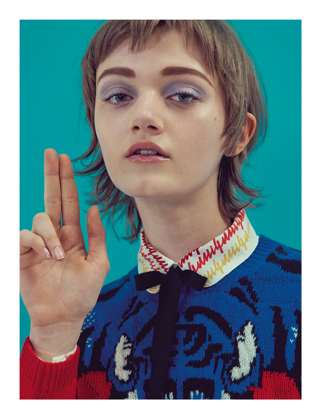 Shirt and jumper, GUCCI.  Realisation: Samuel François assisted by Sophie Houdré and Michelle Veal. Models: Allyson Chalmers, Willy Morsch and Peyton Knight from IMG Models. Lorena Maraschi from Next Models. Sarah Abney from Supreme Management. Risa Bellak from Immortal Model Management. Haircut: Marki Shkreli from Tim Howard Management. Make-up: Rie Omoto from See Management. Manucure: Natalie Pavloski for Chanel from Bridge Artists. Digital: Alexandre Marillat. Production: Nadia Lessard from Talent and Partner.  Discover the exclusive fashion story by Julia Wachtel and Victor Demarchelier starring Julie Hoomans.  Discover more fashion stories in theNuméro Artfor June2016, available in newsstands and oniPad.   →Subscribe to the print edition of Numéro →Subscribe to the Numéro iPad app