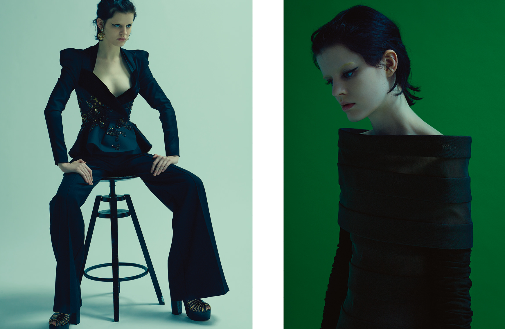 Left : Wool and velvet suit, earrings and sandals, ELIE SAAB HAUTE COUTURE. Right : Tunic dress with silk and gauze stripes, CHANEL HAUTE COUTURE.