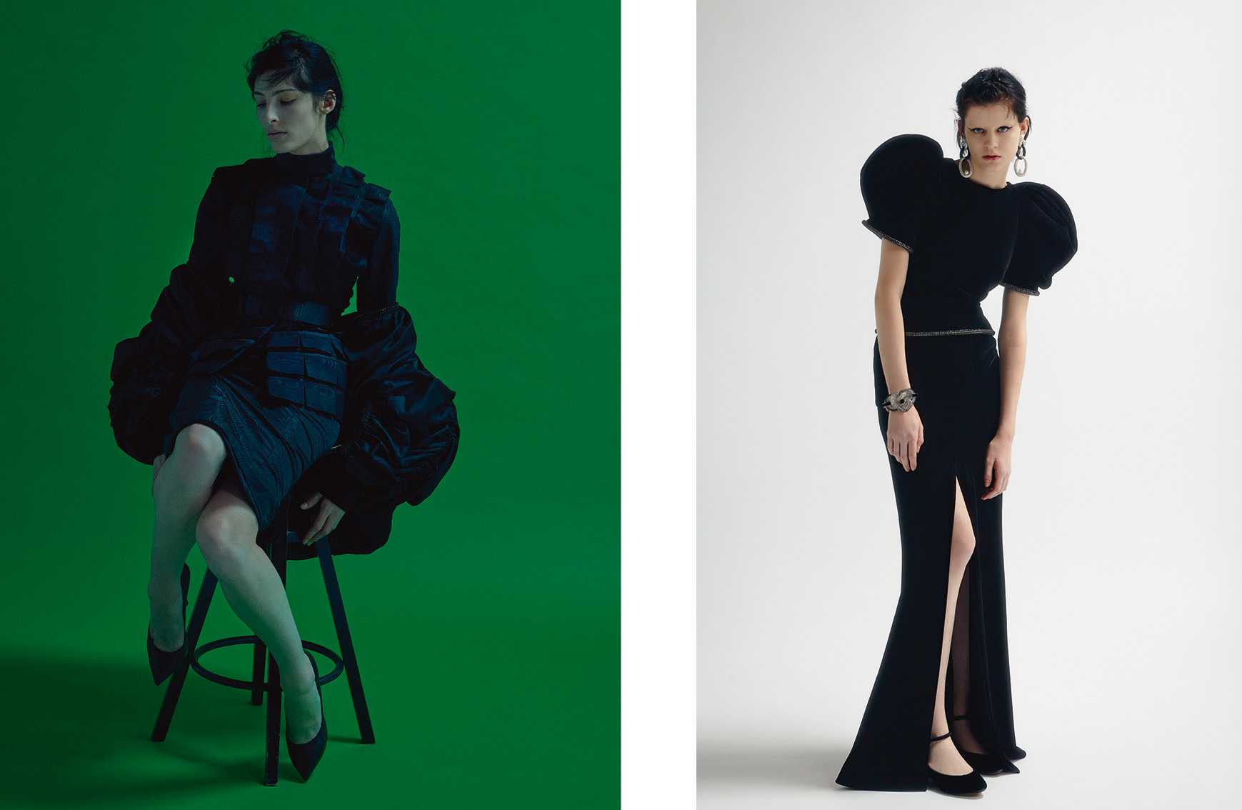 Left : Taffeta jacket and dress, Ziberline and satin bomber, belt and heels, GAULTIER PARIS. Right : silk-velvet ensemble with balloon sleeves and cristal details, earrings, bracelet and heels, GIORGIO ARMANI PRIVÉ.
