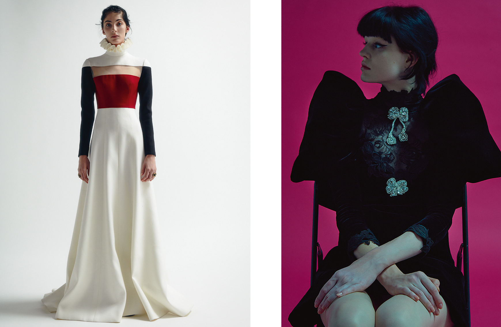 "Left :  ""Sublime"", wool dress with collar embedded with tulle and rings, VALENTINO HAUTE COUTURE. Dress : Velvet cocktail dress with silk lace collar embroidered with cristals, GIAMBATTISTA VALLI HAUTE COUTURE."