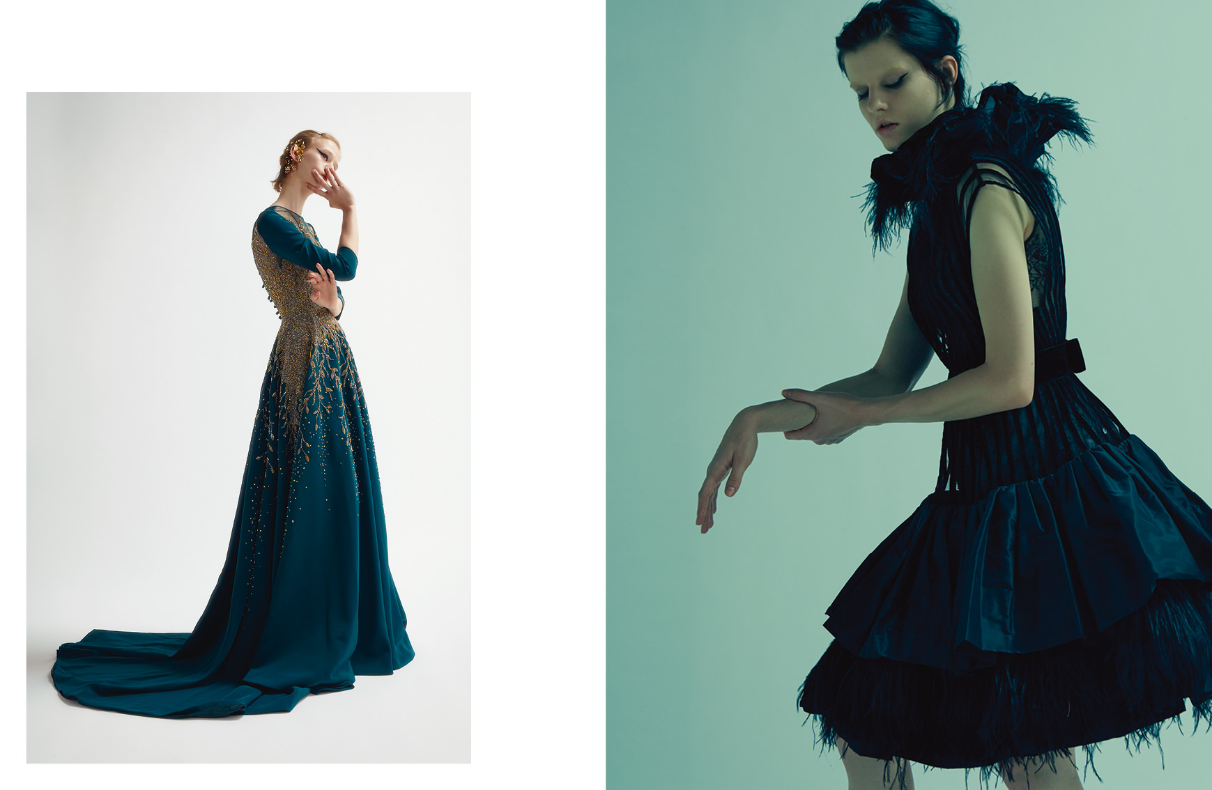 Left : Silk dress embroidered with cristals and earrings, GEORGES HOBEIKA COUTURE. Right : Cocktail dress with tulle and velvet stripes withtaffeta and feathers frills, GEORGES CHAKRA COUTURE.