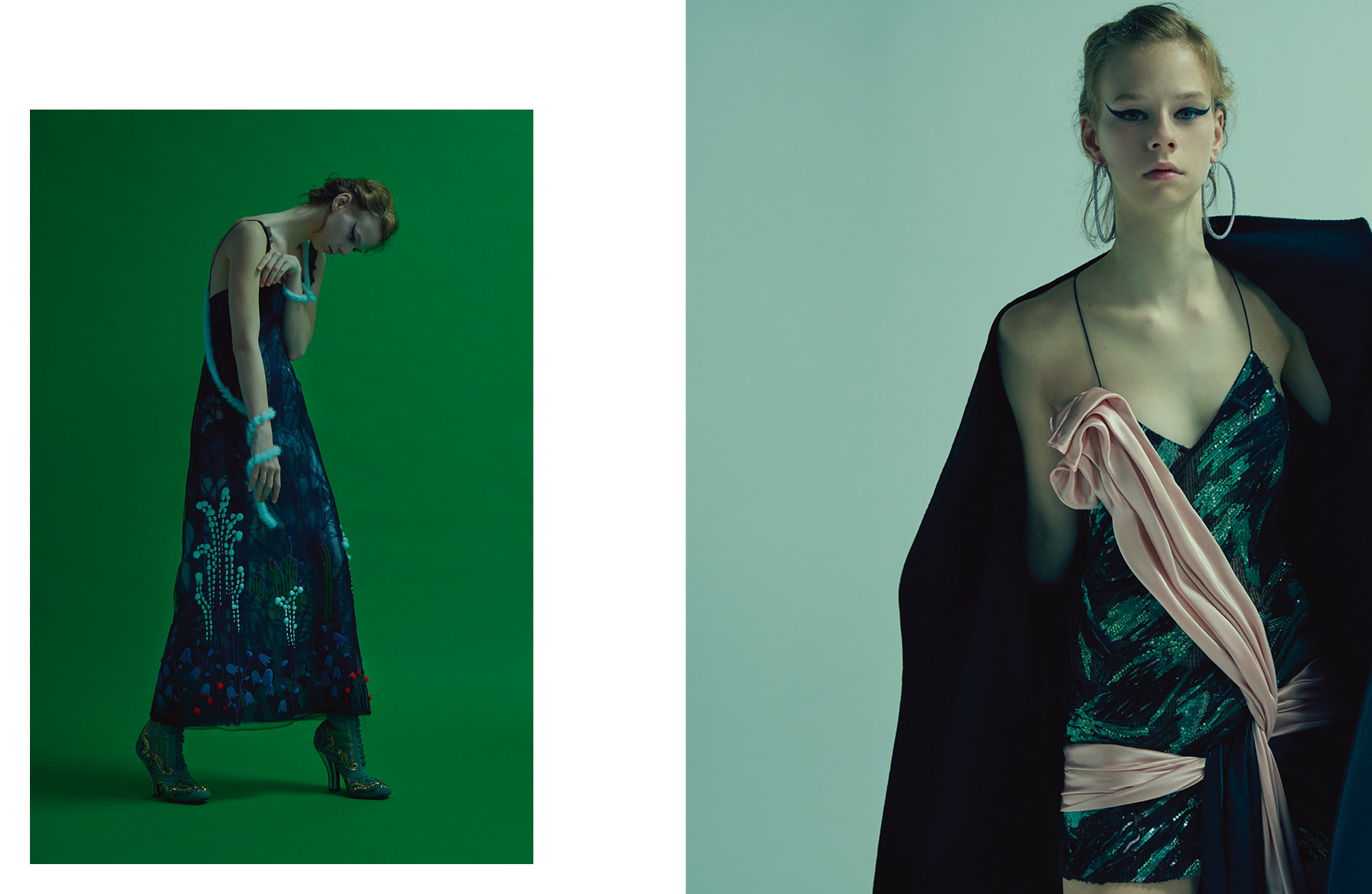 """Left : """"The young Lady with the bird"""", organza dress embroidered mink flowers and mink boaand shoes, FENDI HAUTE FOURRURE. Right : Satin and cashmere coat embroidered with Swarovski cristals, satin dress embroidered with Swarovski cristals and earrings,ATELIER VERSACE.   Realisation: Samuel François assisted by Sophie Houdré and Déborah Zetlaoui. Models: Hannah Elyse and Annie Tice at Oui Management. Aniek Klapwijk atWomen Management. Hair : Franco Argento at Atomo Management. Make Up: Satoko Watanabe at ArtList. Manicurist : Sally Derbali. Numeric: Alexandre Marillat. Production: Nadia Lessard chez Talentand Partner."""