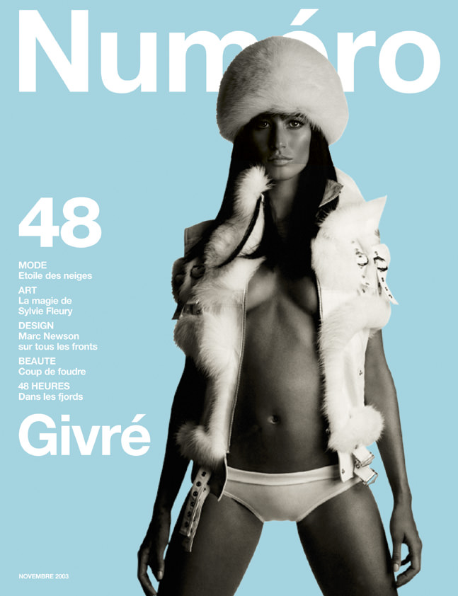 Gisele photographedby Patrick Demarchelier for the cover of Numéro 48, November2003.