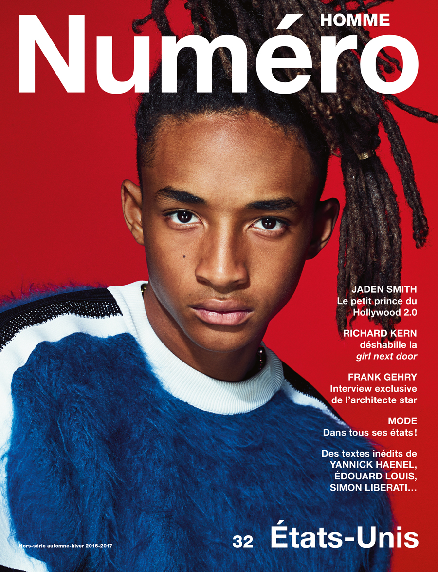 "Jaden Smith photographed by Nathaniel Goldberg. Wool and mohair jumper, LOUIS VUITTON. Yellow gold ring ""Love"", CARTIER.   Right now all eyes are glued on the United States of America as the country focuses on electing their next president in an ideological struggle scrutinised by the world's media. Naturally there's great temptation here to rant about the evil we perceive in one of the candidates with his flyaway hairpiece… if only we could be certain he wouldn't win! However there is one person who doesn't seem to be affected by this feverish debate and that's Jaden Smith, the lunar son of Will Smith, the one with the most improbably hairstyle. Totally unfazed by his 4.5 million followers on Instagram with a penchant for wearing girls' clothes, the young actor and rapper is the perfect embodiment of the zeitgeist. Frank Gehry, on the other hand, is one of the biggest architects in the world, famous for his iconic constructions like the Bilbao Guggenheim or the Louis Vuitton Foundation in Paris, and he is suitably surprising in his frankness in our exclusive interview. As is the tradition Numéro Homme gives a writer's point of view alongside every fashion series. This very French way of playing with verbs offers a multiplicity of perspectives – including those of Yannick Haenel, Jean-Noël Orengo, Simon Liberati and Édouard Louis – that merrily shifts the debate. These voices come together in a humble attempt to sketch a portrait of a great country that has always fascinated Europe as much as disconcerts.   by Philip Utz  (translation by Rebecca de Volkovitch)       In this edition of Numéro Homme:    Jaden Smith photographed by Nathaniel Goldberg, black American music as seen by Christophe Conte and illustrated by Mathias Augustyniak, an exclusive erotic series by the American artist Richard Kern, the raunchy founder of American Apparel, Dov Charney, tells us about his incredible adventure, a portrait of Hollywood superstar Richard Gere, and fashion shoots by Nathaniel Goldberg, Paolo Zerbini, Jacob Sutton, Jean-Baptiste Mondino, Cameron McCool and Alex Antitch, each preceded by original texts from Yannick Haenel, Ilan Duran Cohen, Simon Liberati, Oscar Coop-Phane, Édouard Louis and Jean-Noël Orengo…     Numéro Homme fall-winter 2016-2017, available 12th of October in the newsstands and on iPad.   → Subscribe to the print edition of Numéro → Subscribe to the Numéro iPad app"
