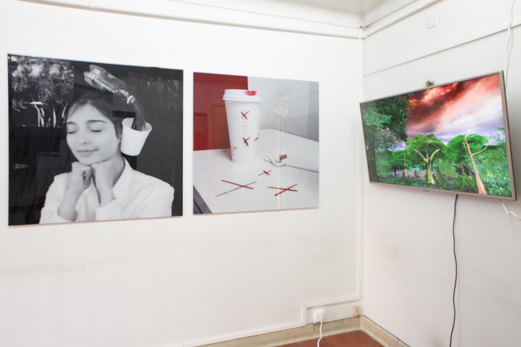 Hannah Black, vidéos HD(2016),vue de l'installation de la galerie Arcadia Missa à la foire Paris Internationale 2016. All images courtesy Arcadia Missa 2016.