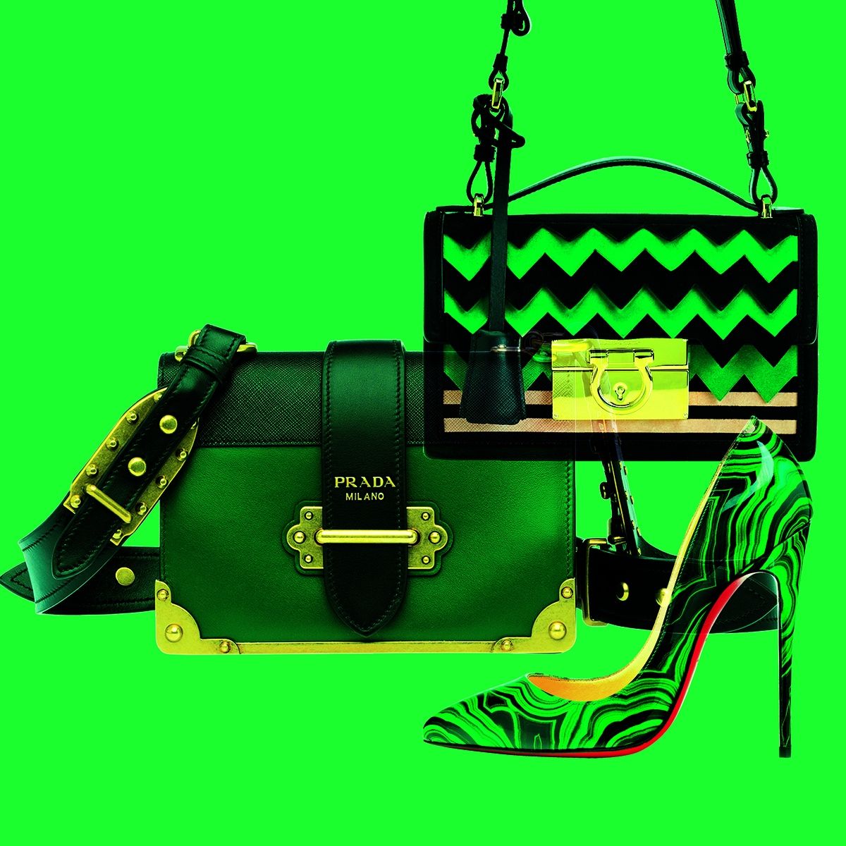 The green and black accessories from Prada, Salvatore Ferragamo and Christian Louboutin