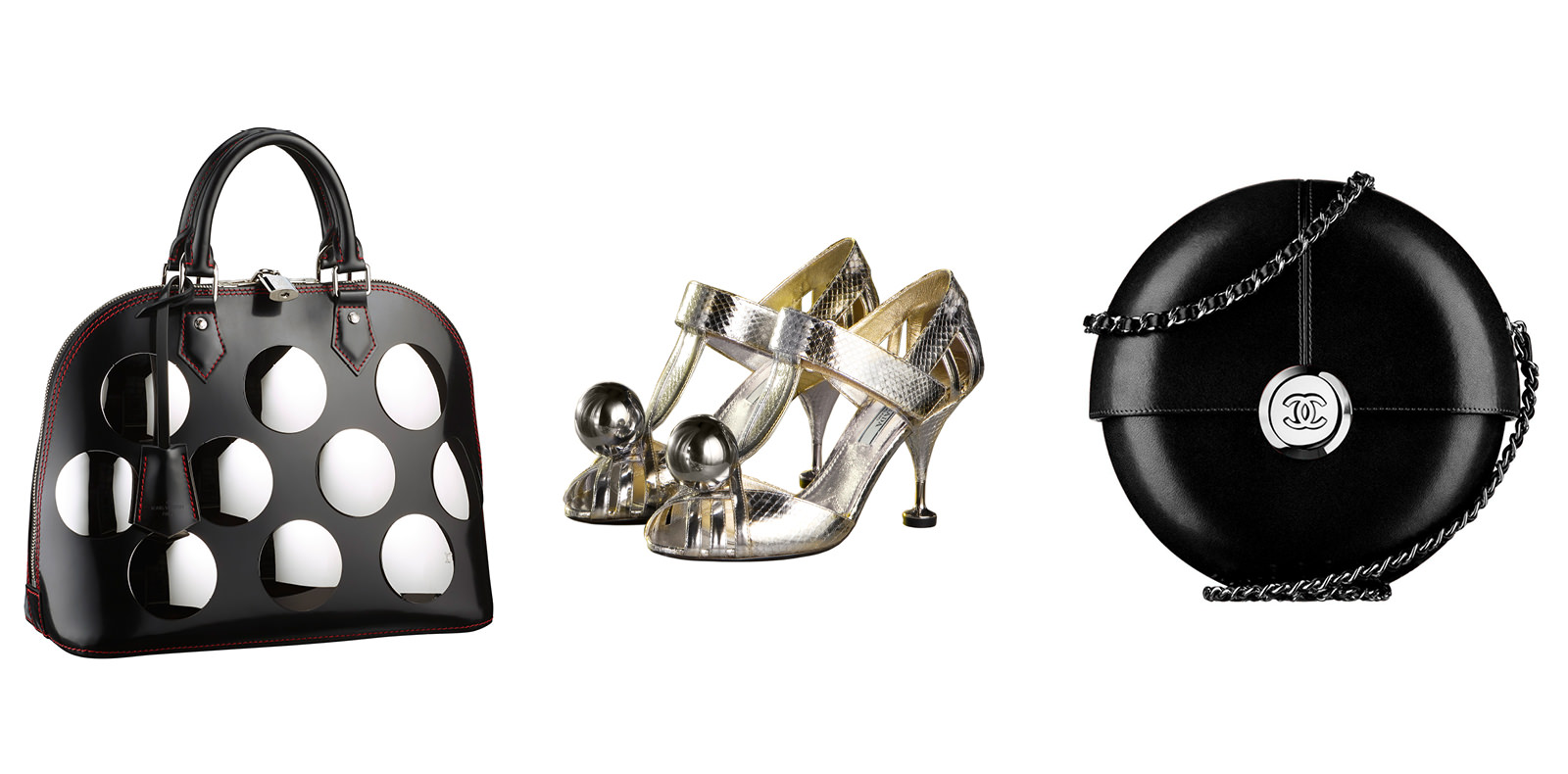 Alma leather and metal bag, LOUIS VUITTON. Leather bag, CHANEL. Leather sandals, PRADA.   Selection by Rebecca Bleynie