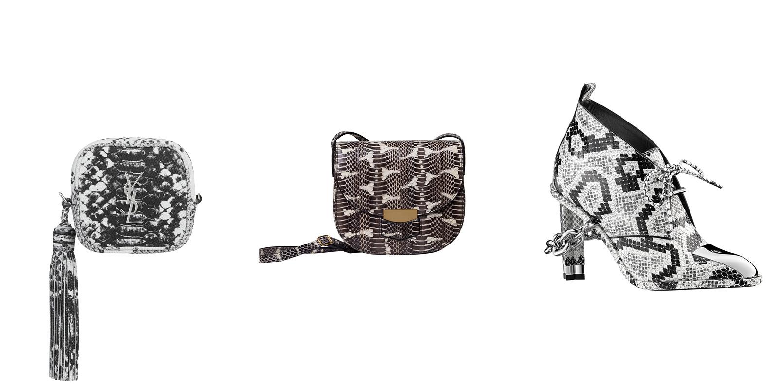 """Boots, LOUS VUITTON. """"Trotteur en serpent d'eau"""" bag, CELINE. """"Monogramme Blogger"""" bag, YVES SAINT LAURENT."""