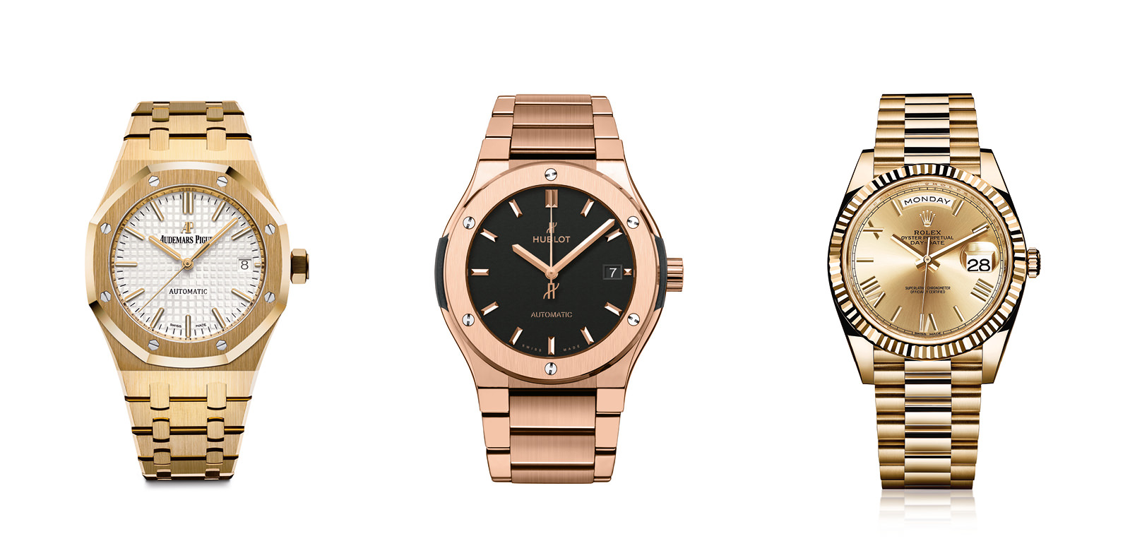 From left to right:  Royal Oak automaticgoldwatch, AUDEMARS-PIGUET.  Classic Fusion 45mm King Gold Braceletking18 caratswatch,HUBLOT.  Oyster Perpetual Day-Date 40gold 18 ct watch,ROLEX.  Selection by Rebecca Bleynie.