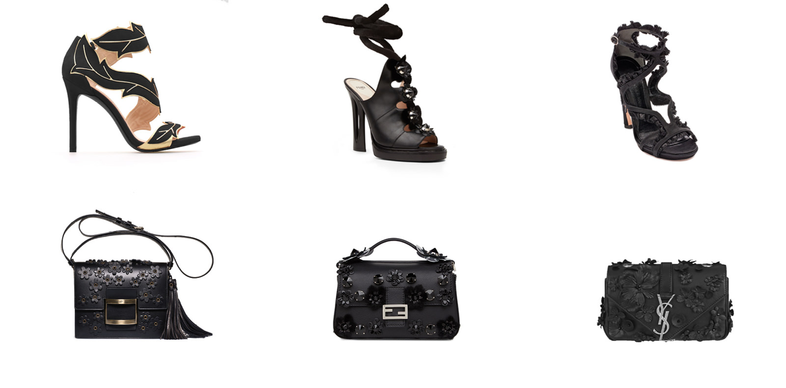 """Top:  Suede calfskin sandal, STELLA LUNA. Leather sandal with embroidered furflowers, FENDI. Leather sandal, MCQUEEN.  Bottom: """"Viv'Flowers""""leather bag, ROGER VIVIER. """"Double Baguette"""" leather bag with embroidered flowers, FENDI. """"Monogramme Baby Chain""""leather bag with embroidered flowers, SAINT LAURENT.  Selection by Rebecca Bleynie."""