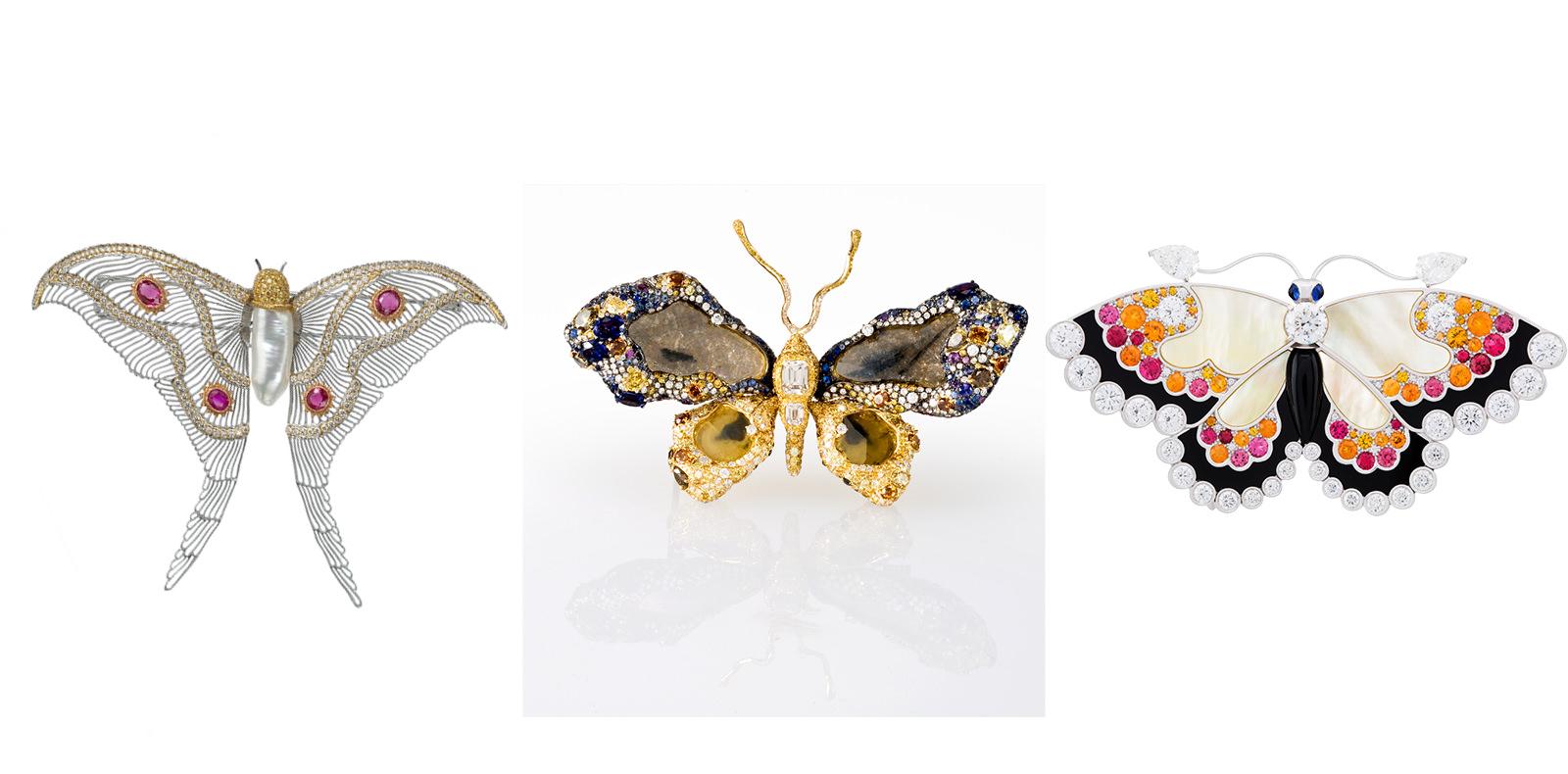 De gauche à droite : Broche en orgravé, diamants, rubis et perlebaroque, BUCCELLATI (pièce unique). Broche en or jaune, diamants, saphirs, rubiset grenats tsavorites, CINDY CHAO. Clip en or blanc, diamants, saphirs jaunes, saphirs bleus, grenats spessartites, spinelles rouges, onyx etnacre, VAN CLEEF & ARPELS.